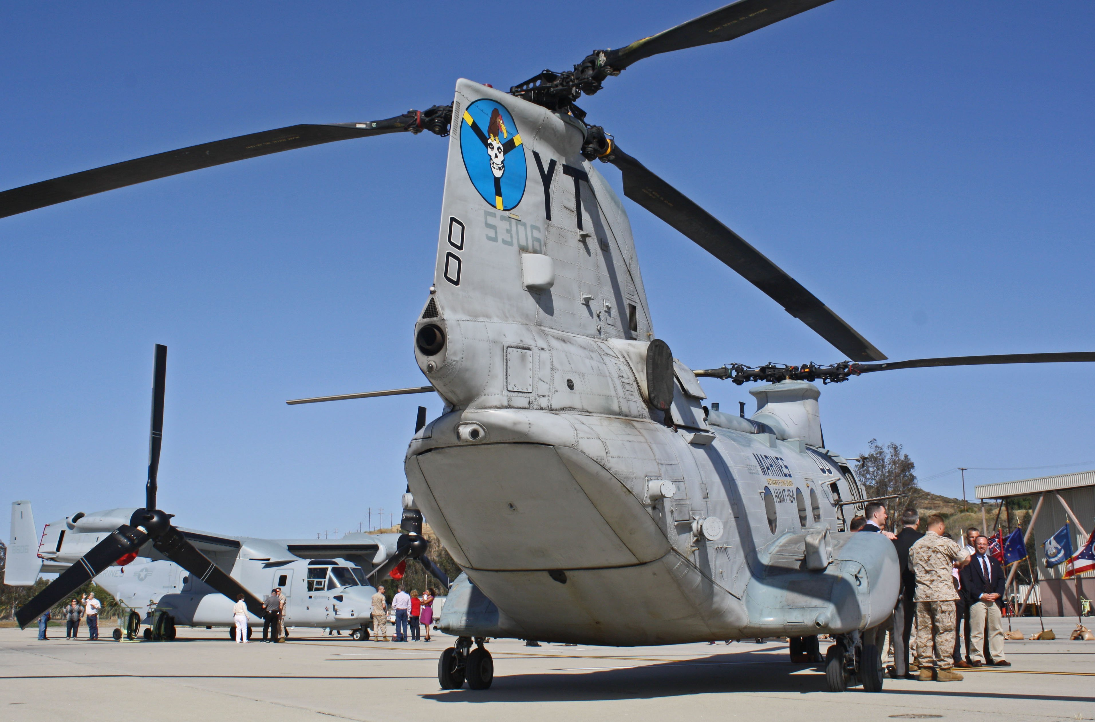 A Ch-46E Sea Knight with Marine Medium Helicopter Training Squadron 164 with a MV-22 Osprey. US Naval Institute Photo
