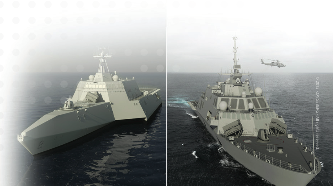 An artist's concept of Naval Strike Missile launchers mounted on both variants of the US Navy Littoral Combat Ship (LCS). Kongsberg Image