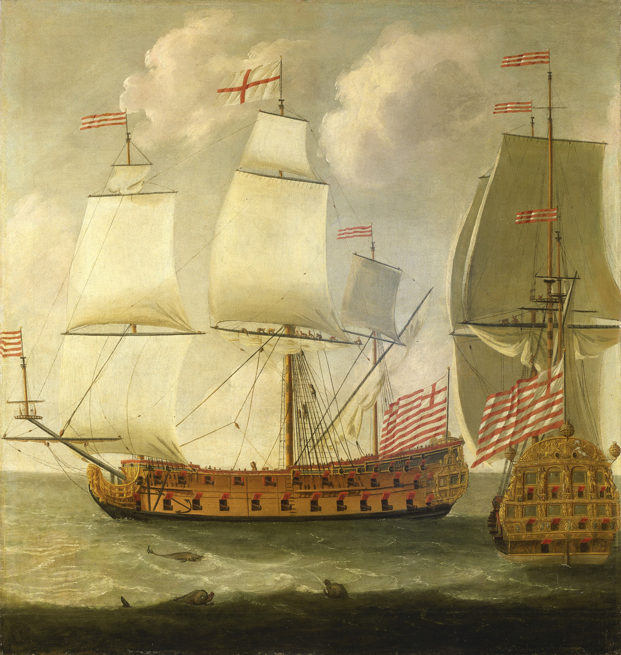 The 1685 painting, Two Views of an East Indiaman of the Time of King William III by artist Isaac Sailmaker