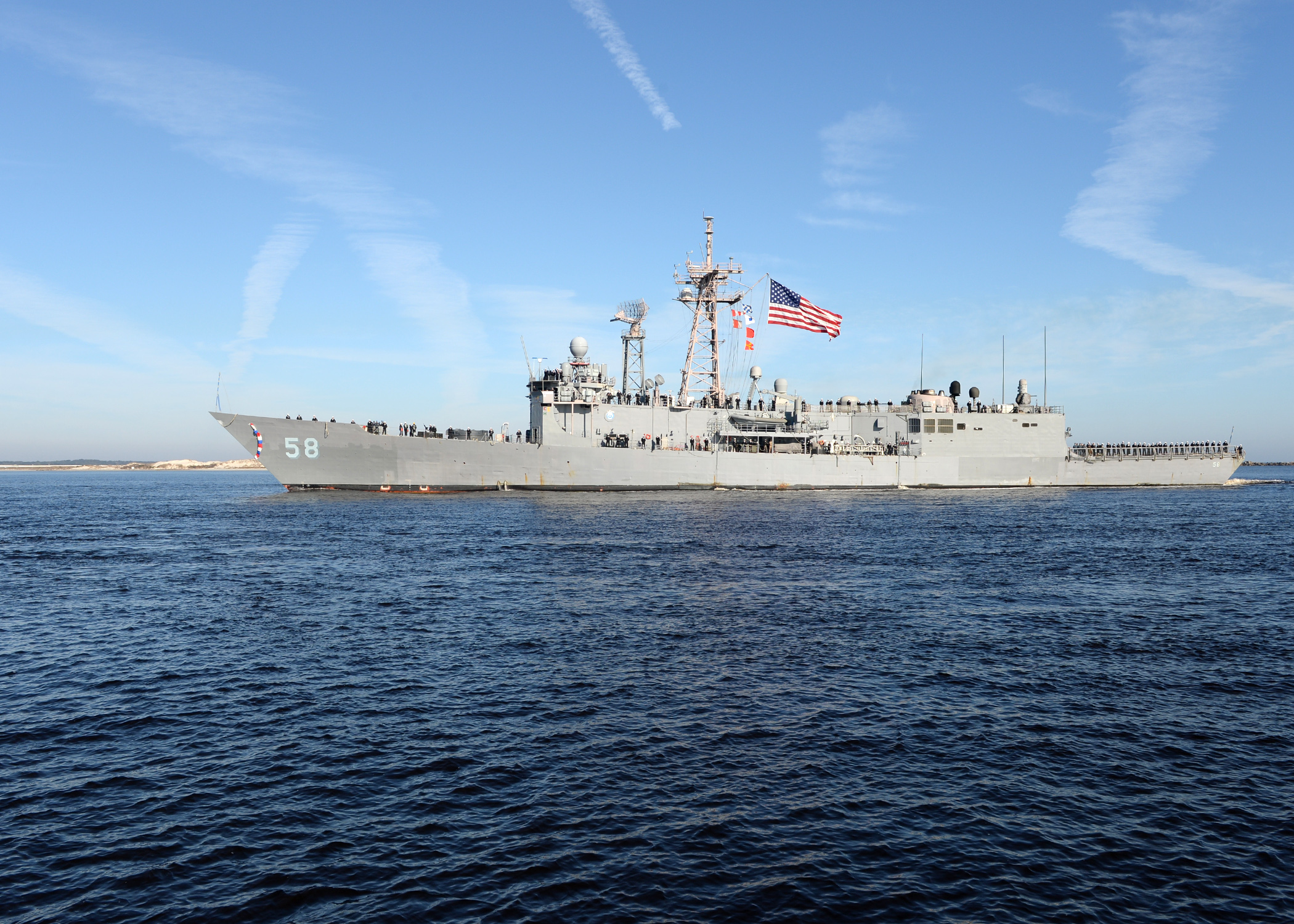 USS Samuel B. Roberts (FFG-58) arrives at Naval Station Mayport after completing a six-month deployment in the U.S. Africa Command area of responsibility. US Navy Photo