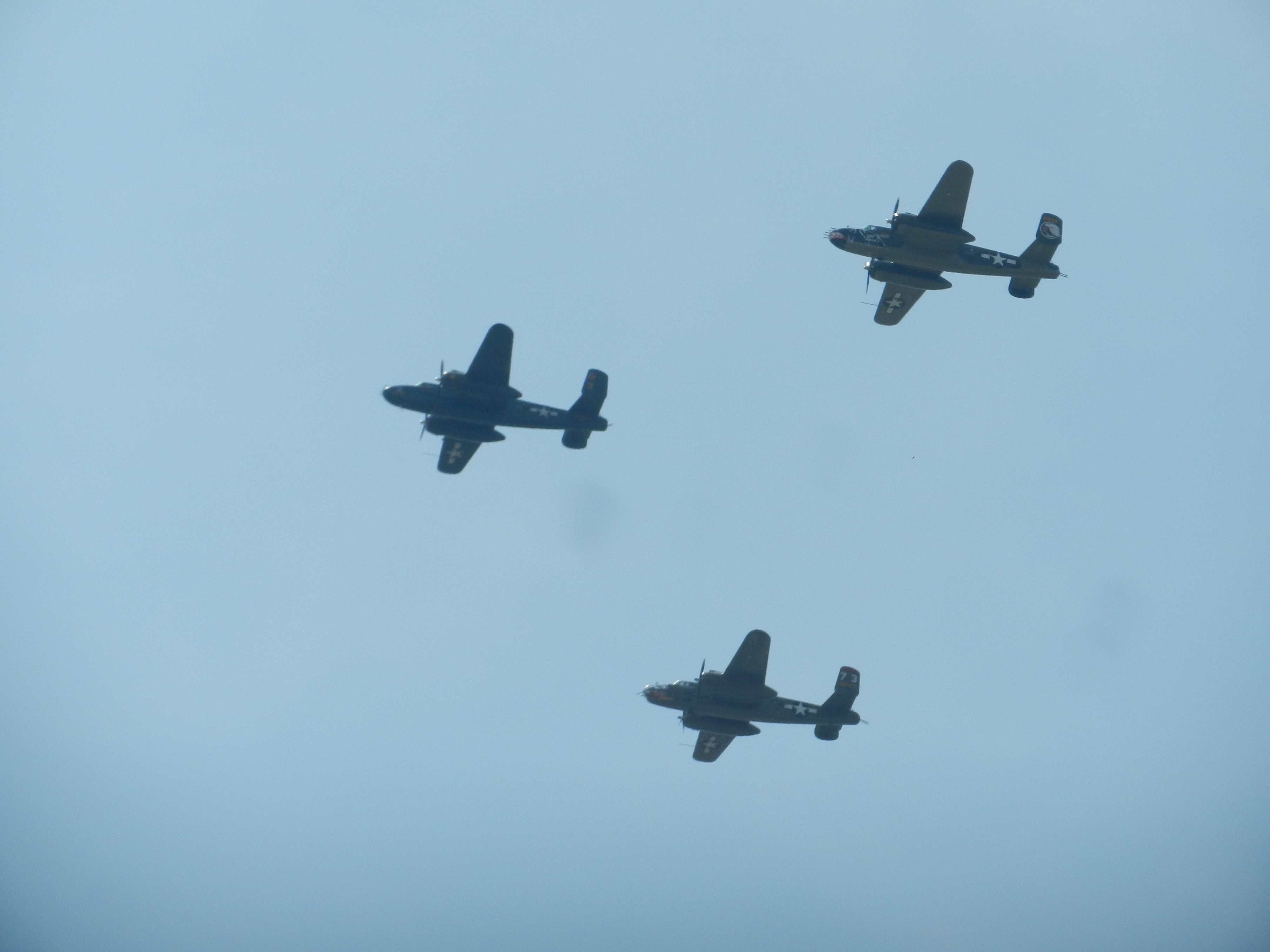A formation of North American B-25 Mitchell twin engine medium bombers, famous for their effort in the Doolittle Raid.