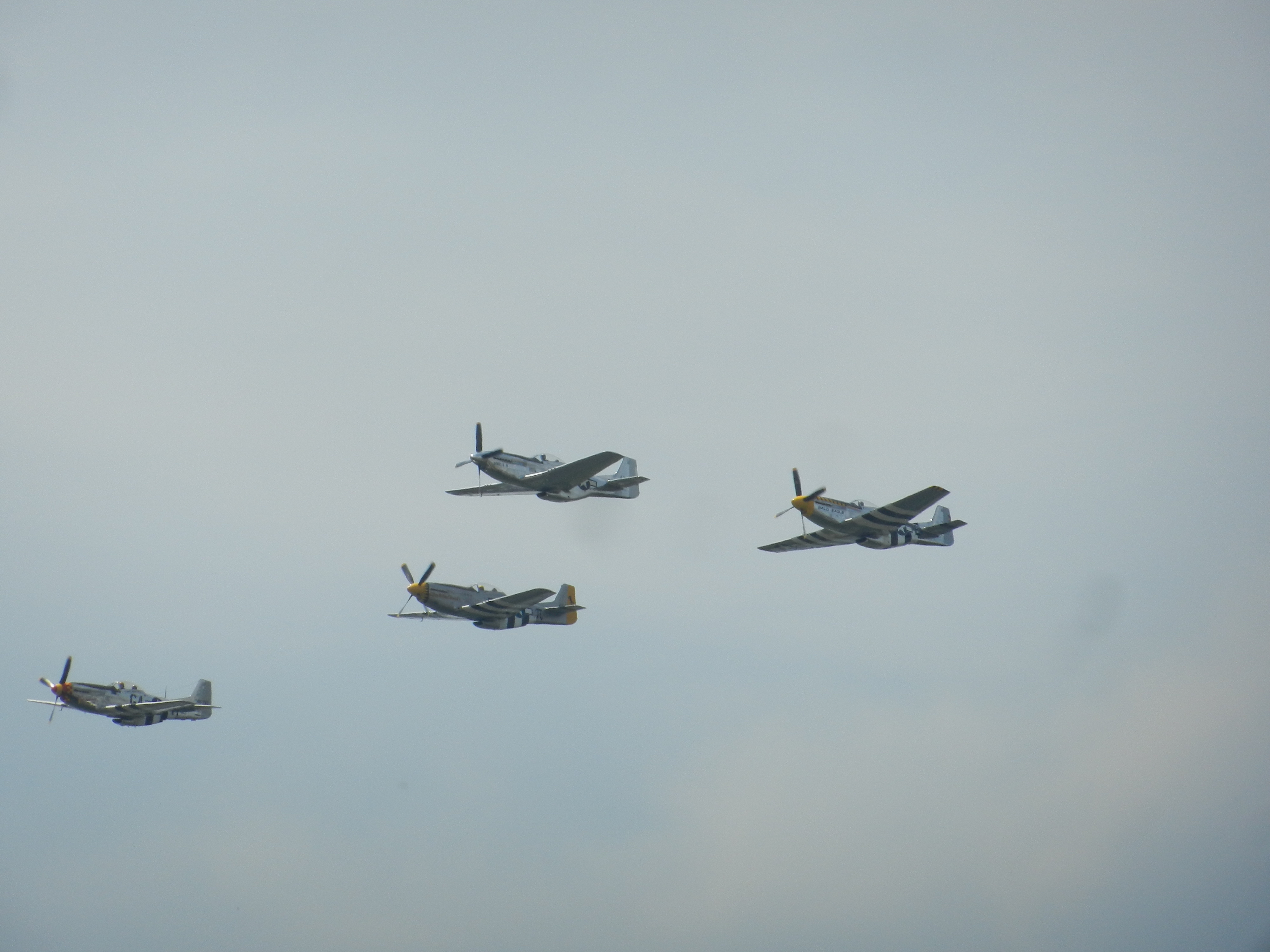 A formation of North American P-51 Mustang fighter escorts, considered one of the best fighter escorts in the war and among the most well-known World War II-era aircraft.