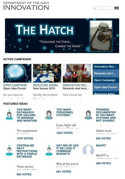 Navy Launches 'Hatch' Crowdsourcing Platform as Part of Innovation Initiative