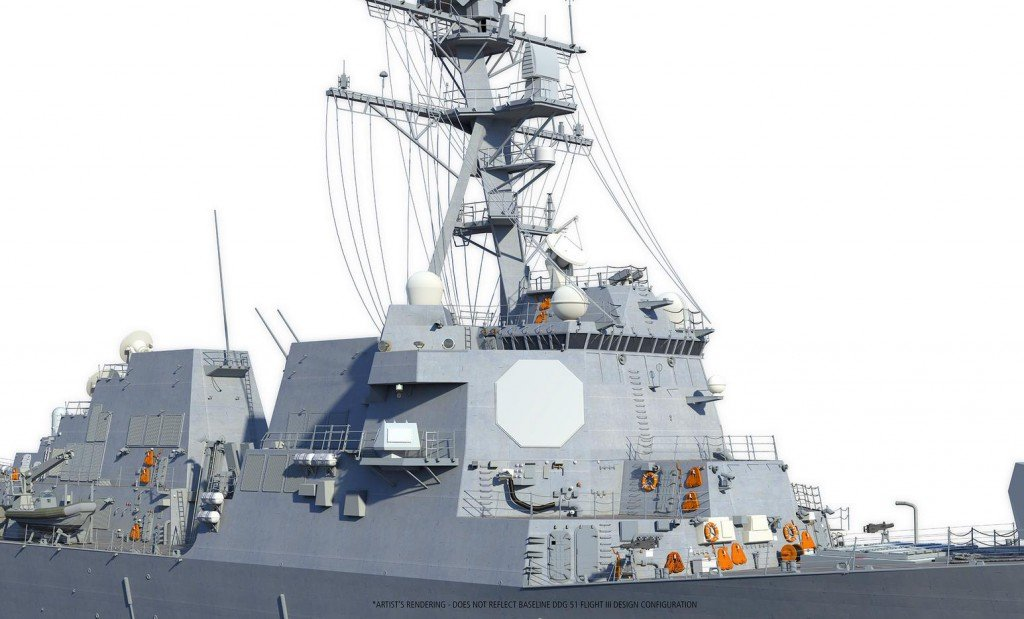 An artist's conception of the AMDR AN/SPY-6(v) radar onboard an Arleigh Burke Flight III guided missile destroyer (DDG-51). Raytheon Image