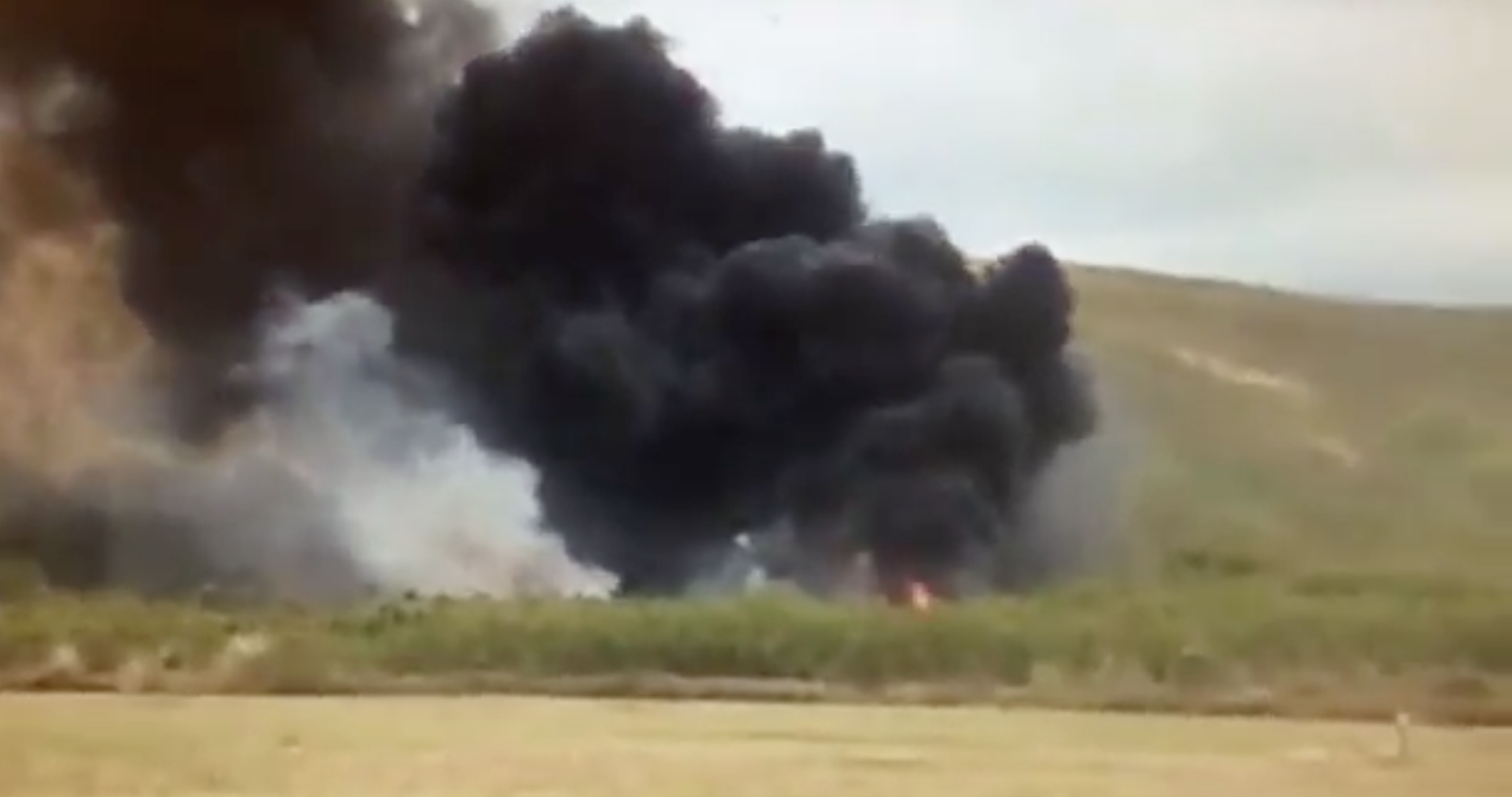 Screen shot of the aftermath of the MV-22 Osprey hard landing during a training exercise in Hawaii. Photo via KITV4.