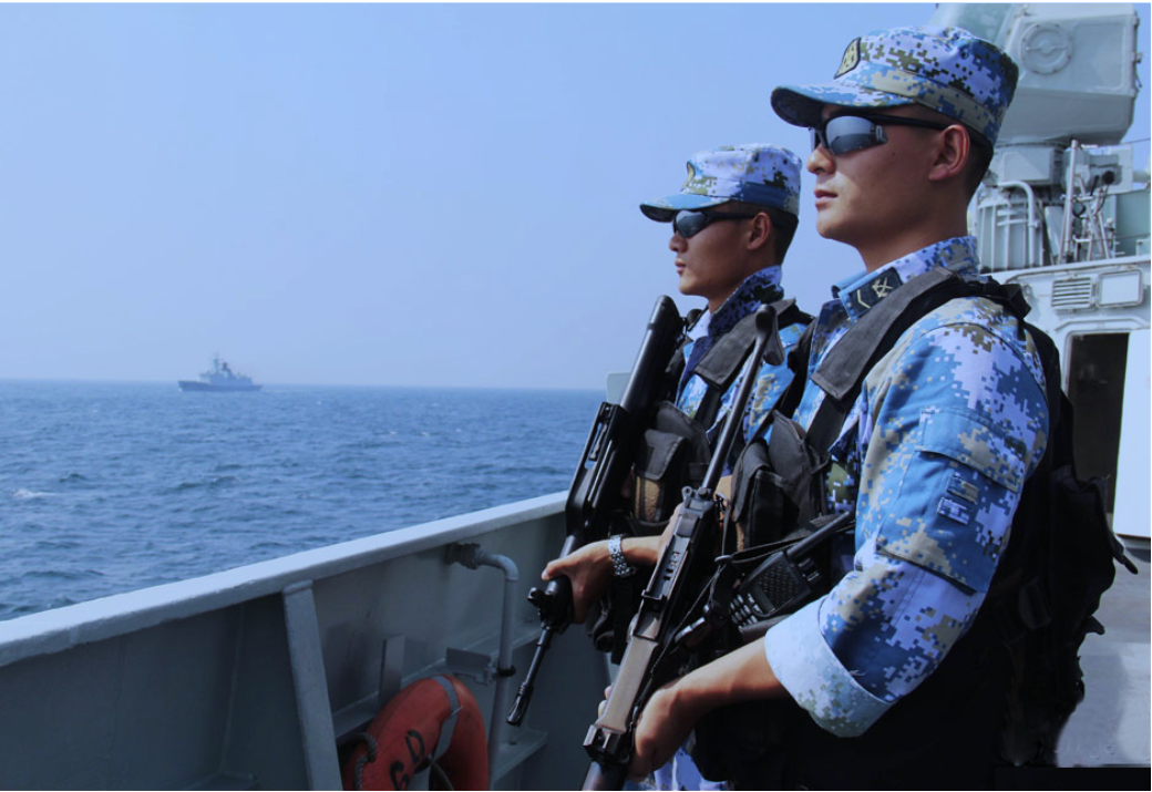 Chinese troops operating in the Gulf of Aden off the coast of Somalia. People's Liberation Army Navy Photo