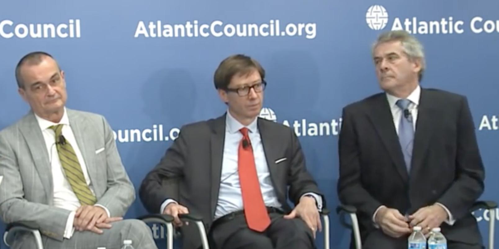 French ambassador to the U.S. Gerard Araud, German to the ambassador U.S. Peter Wittig and U.K. to the ambassador U.S Peter Westmacott at The Atlantic Council on May 26, 2015.