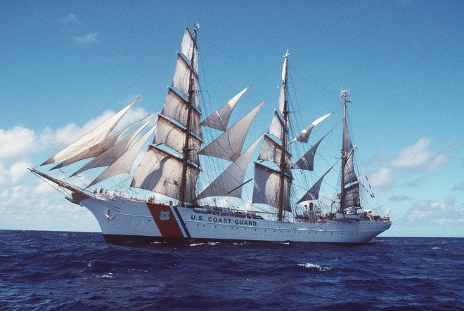 San Juan, PR (Feb. 21)--Coast Guard Cutter Eagle under full sail off the coast of Puerto Rico. BROWN, TELFAIR H. PA1