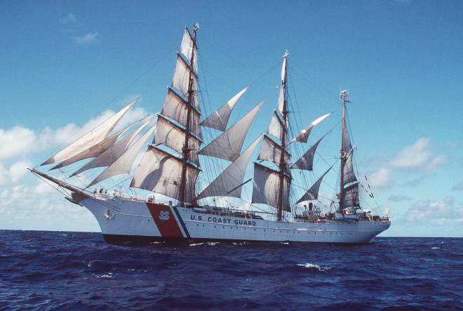San Juan, PR (Feb. 21)--Coast Guard Cutter Eagle under full sail off the coast of Puerto Rico. BROWN, TELFAIR H. PA1