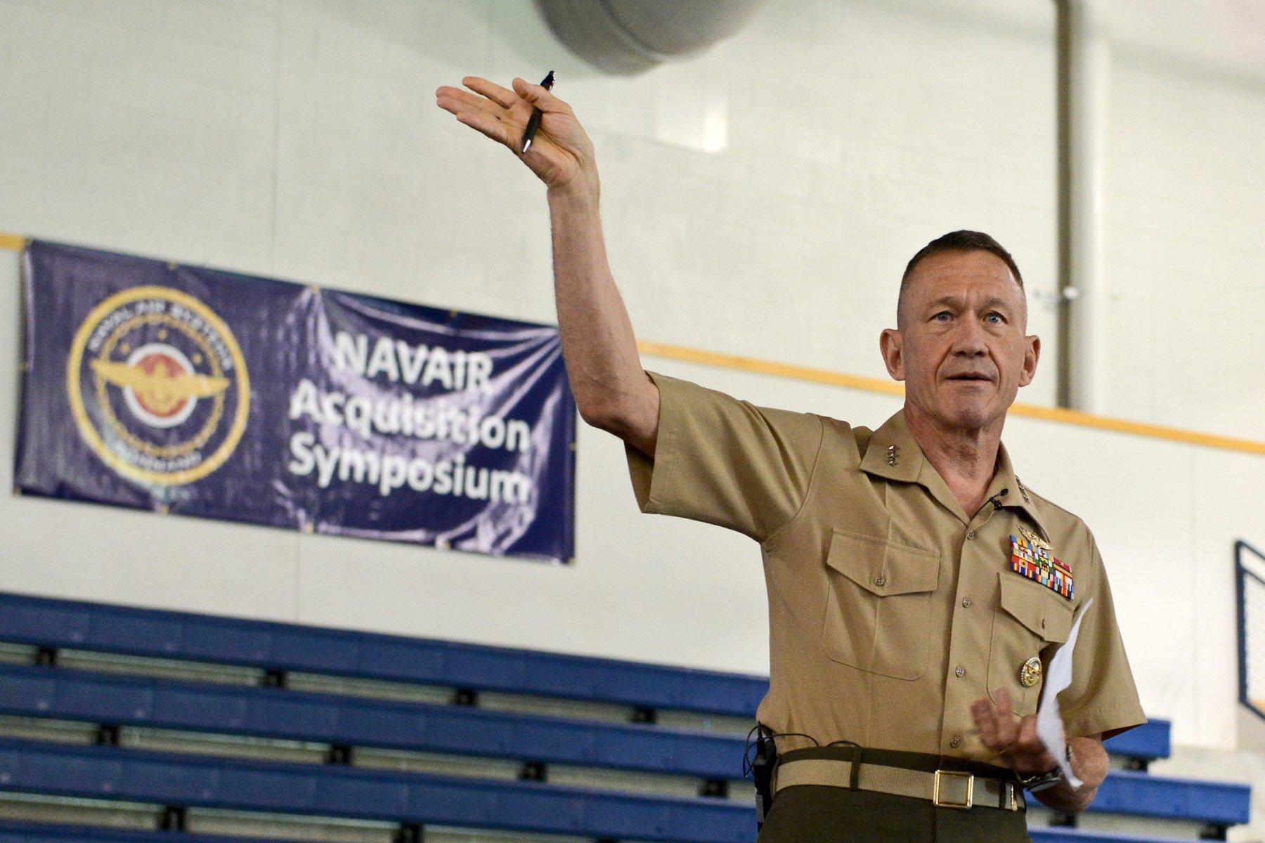 Lt. Gen. Jon Davis, deputy commandant for aviation, Headquarters Marine Corps, highlights the importance of the service's aviation mission during Naval Air System's Command's fifth annual Acquisition Leadership Symposium held Aug. 14, 2014. US Navy Photo