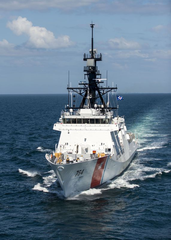 National Security Cutter James during acceptance trials in the Gulf of Mexico. HII photo.