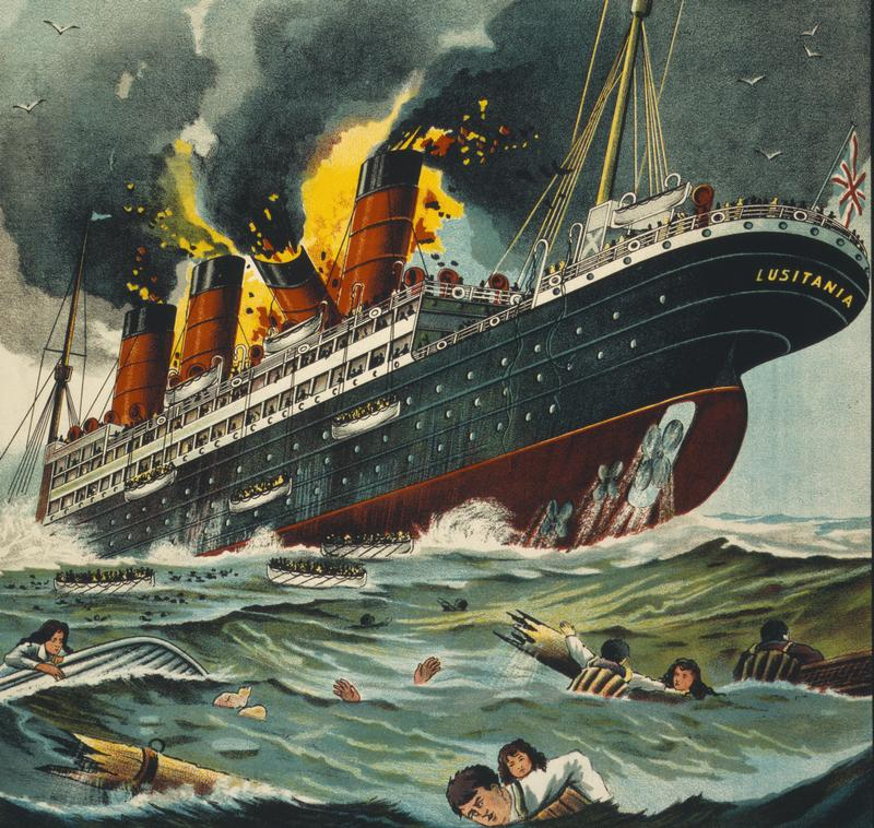 lusitania-on-fire
