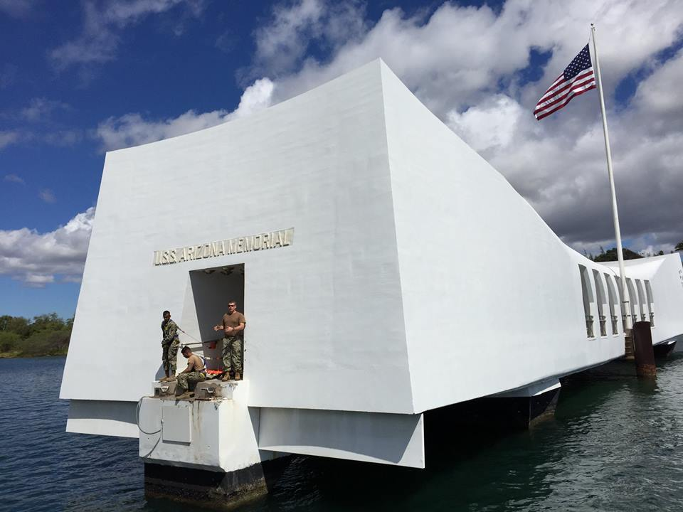US Navy Seabees conduct repairs on the USS Arizona Memorial on May 29, 2015. US National Park Service Photo