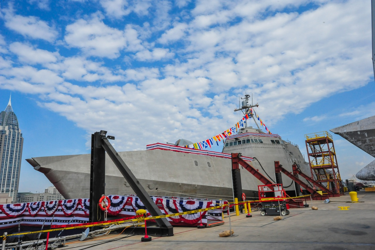 Pre-Commissioning Unit (PCU) Jackson (LCS 6) during its christening ceremony at Austal USA shipyard in Mobile, Ala. in 2014. Austal USA Photo