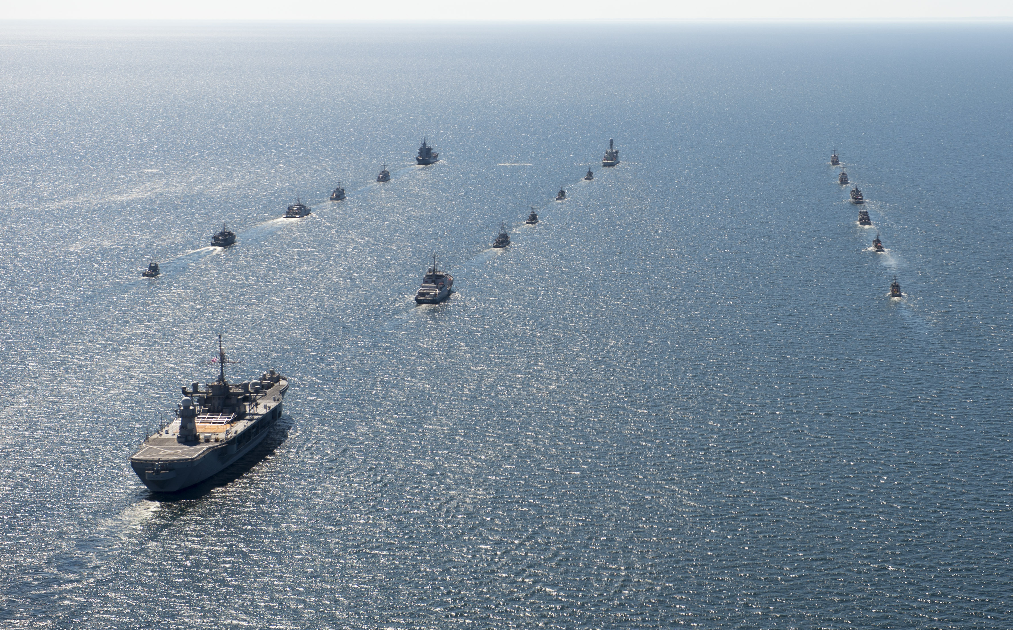Ships from various nations in the Baltic Region and the U.S. 6th Fleet command and control ship USS Mount Whitney begin the underway phase of Baltic Operations (BALTOPS) 2014. US Navy photo.