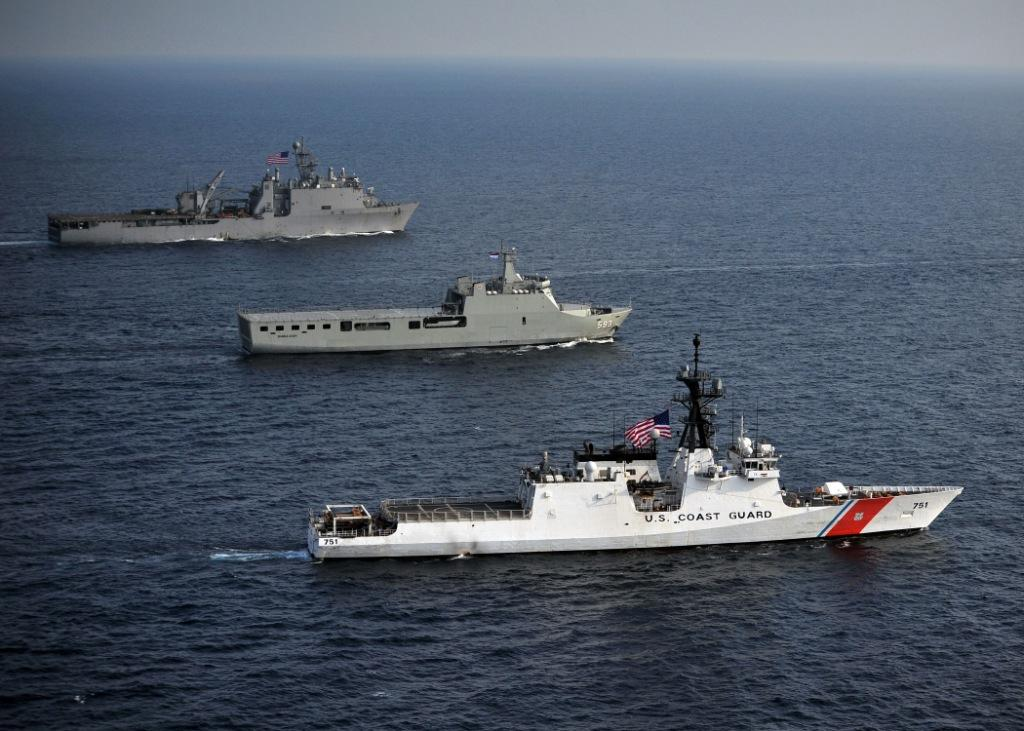 The Legend-class national security cutter USCGC Waesche (WMSL-751), Indonesian Navy landing platform dock ship KRI Banda Aceh (BAC 593) and the amphibious dock landing ship USS Germantown (LSD 42) steam through the Java Sea in 2012. US Navy Photo