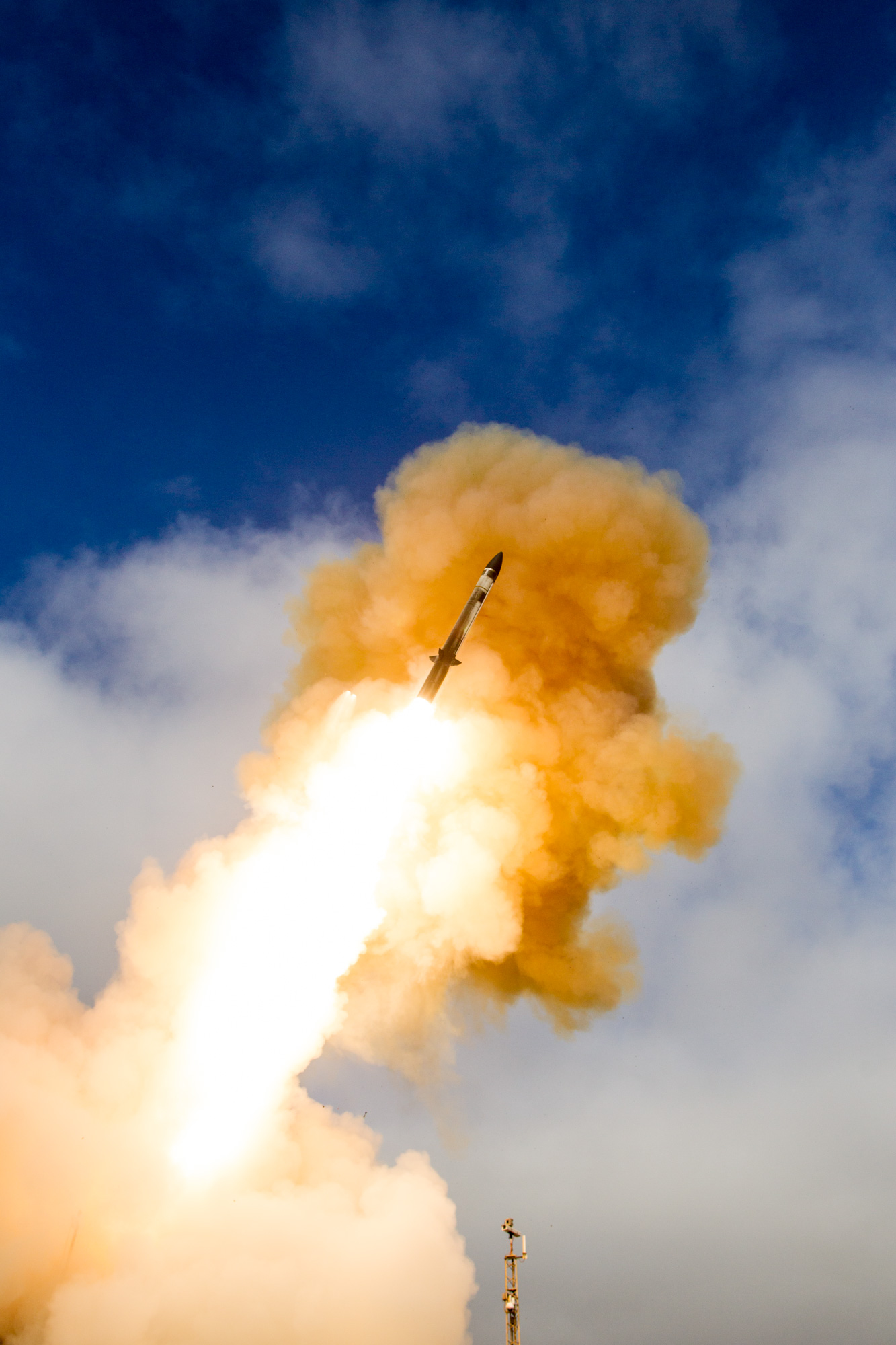 The Technical Research and Development Institute (TRDI), Japan Ministry of Defense (MOD), and the U.S. Missile Defense Agency (MDA), in cooperation with the U.S. Navy, announced the successful completion of a Standard Missile-3 (SM-3) Block IIA flight test from the Point Mugu Sea Range, San Nicolas Island, California. This test, designated SM-3 Block IIA Cooperative Development Controlled Test Vehicle-01, was the first live fire of the SM-3 Block IIA. Missile Defense Agency photo.