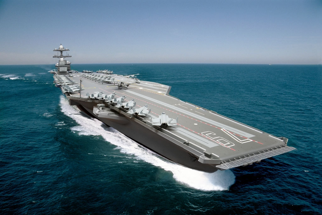 A composite photo illustration representing the Ford-class aircraft carrier John F. Kennedy (CVN-79). US Navy Image