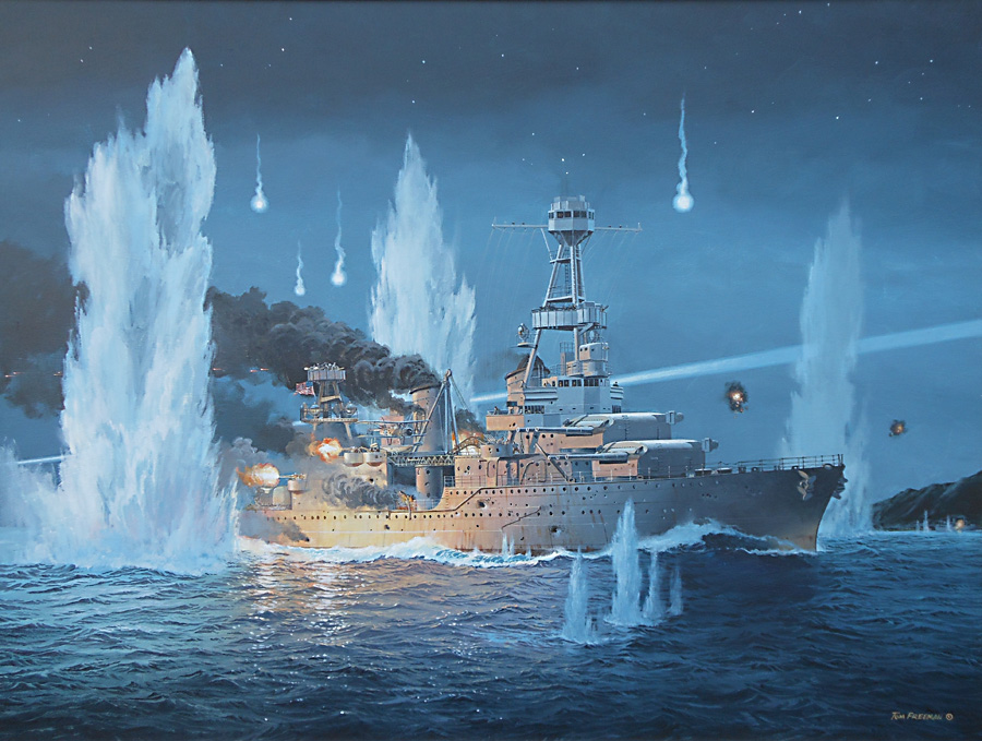 The Tom Freeman painting, 'They Sold Their Lives Dearly' depicting USS Houston, CA 30 valiantly fights on alone during the night of February 27-28, 1942 against an overwhelming Japanese Naval Force.