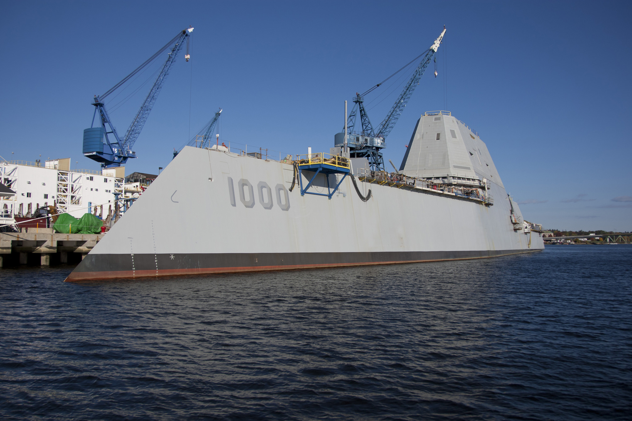 Superior Guided Missile Destroyer Zumwalt Pier Side At General Dynamics Bath Iron  Works On Oct.