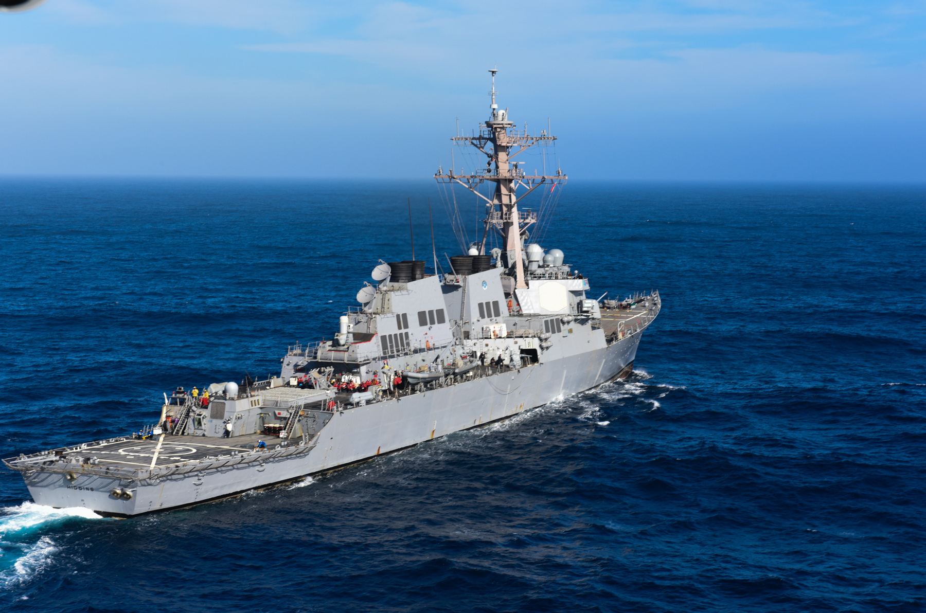 The guided-missile destroyer USS Higgins (DDG 76) is underway conducting an independent deployer certification exercise off the coast of Southern California on April 30, 2015. US Navy photo.