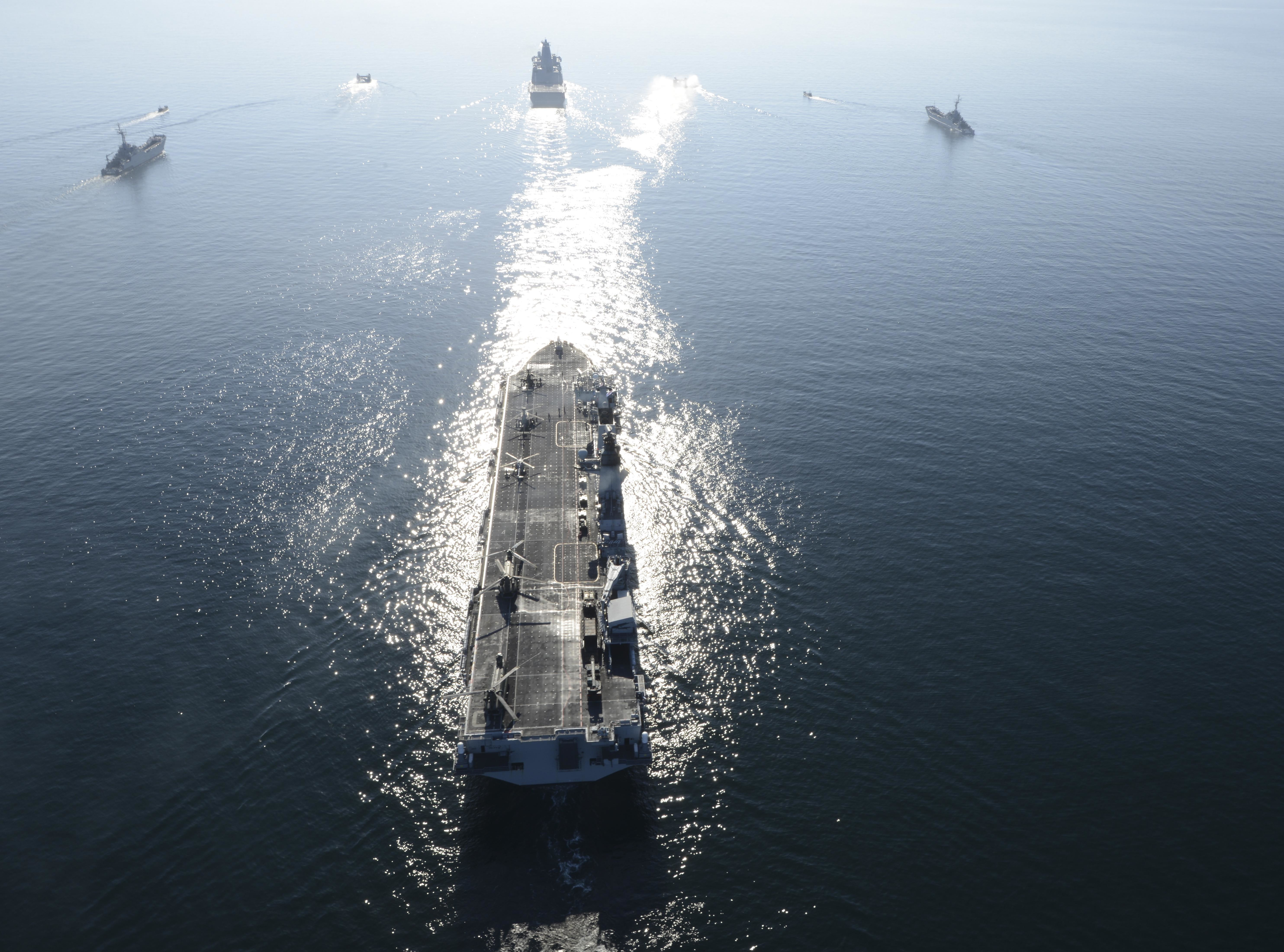 Amphibious assault ships participating in exercise Baltic Operations (BALTOPS) 2015 transit in formation off the coast of Sweden on June 12, 2015. US Navy Photo