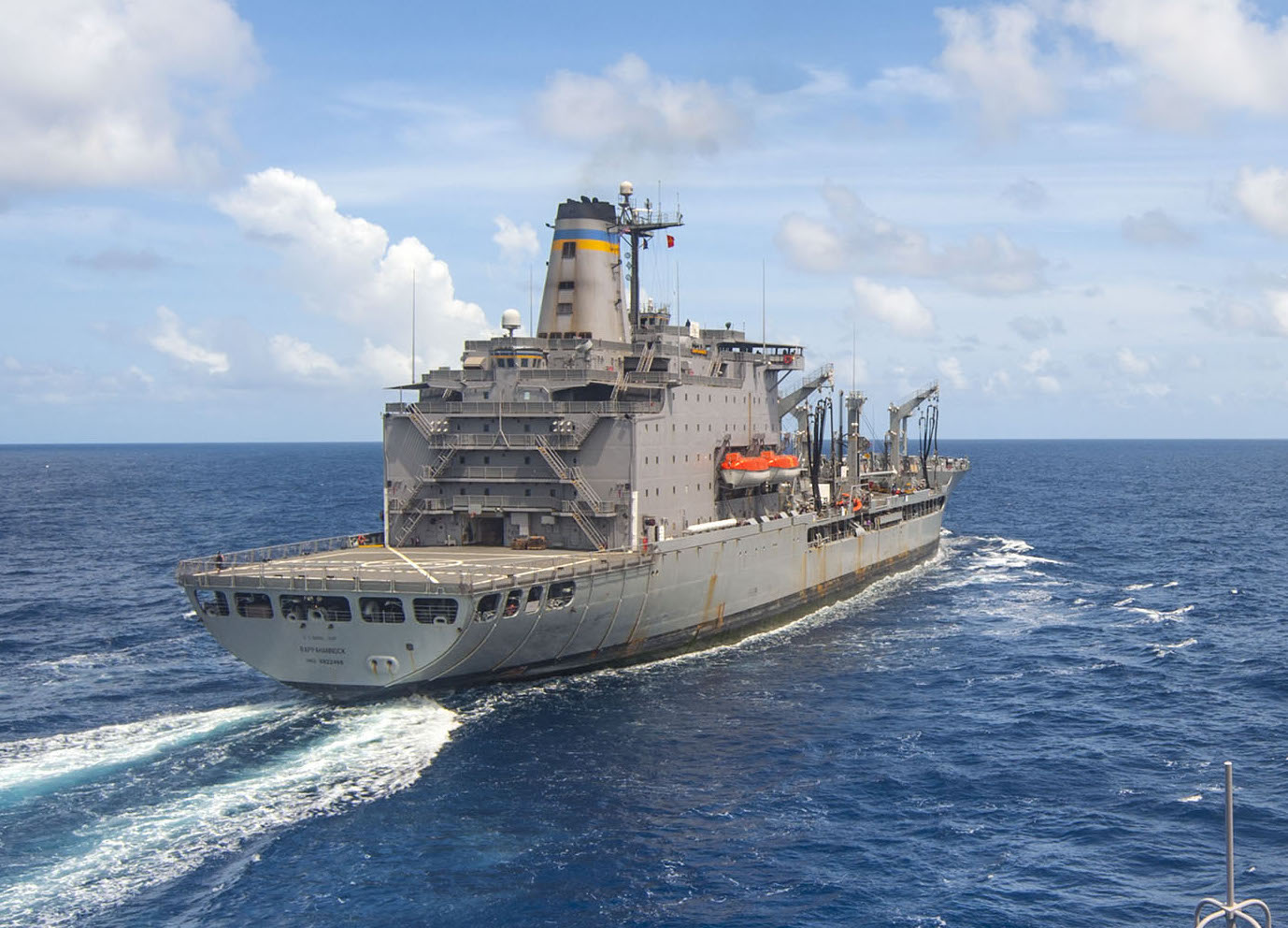 Military Sealift Command fleet replenishment oiler USNS Rappahannock (T-AO 204) prior to a replenishment-at-sea on June 29, 2015. US Navy Photo