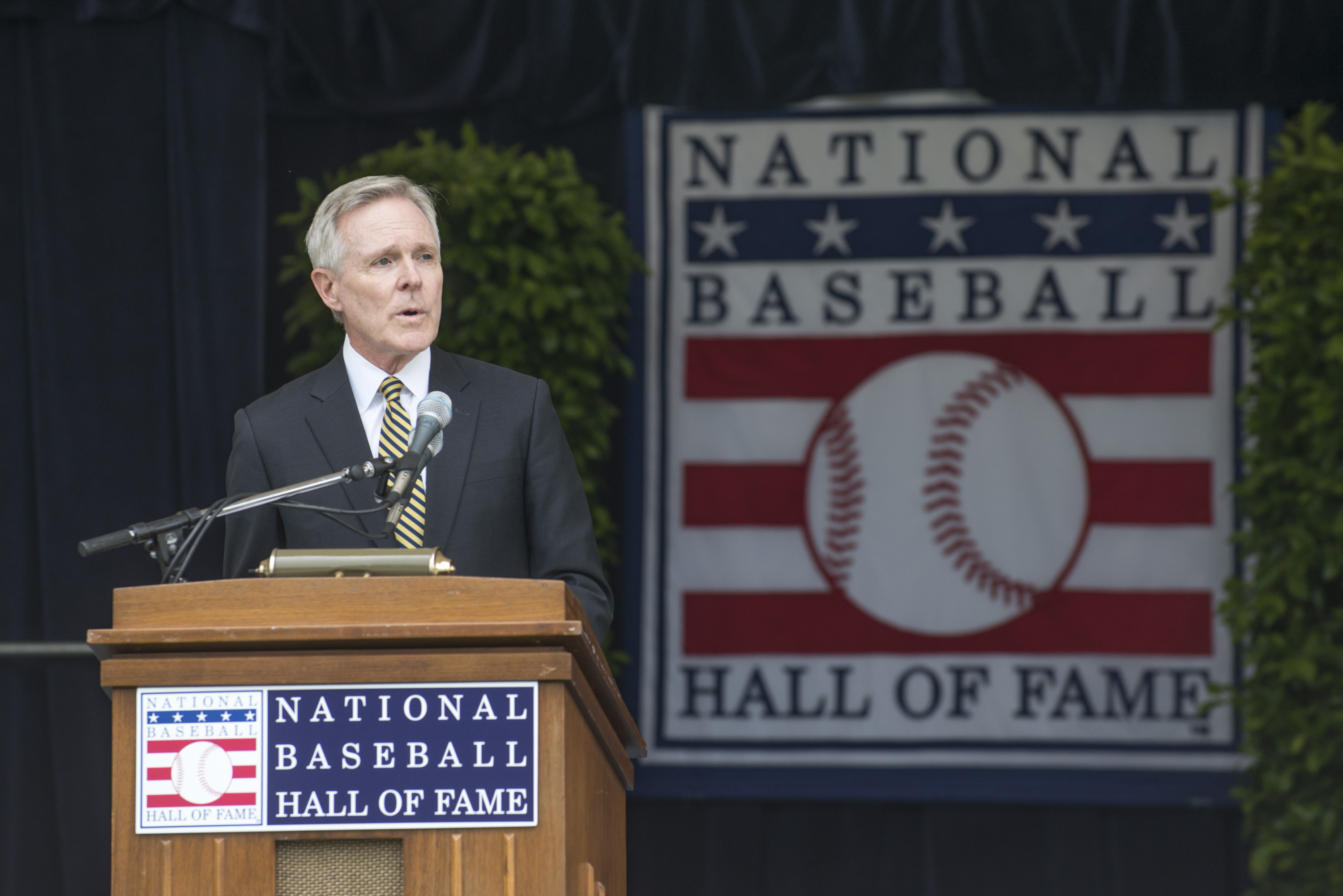 Secretary of the Navy (SECNAV) Ray Mabus delivers remarks during the National Baseball Hall of Fame Induction Weekend. During his speech Mabus announced the name of the future Freedom-class littoral combat ship (LCS-23) as USS Cooperstown. US Navy Photo