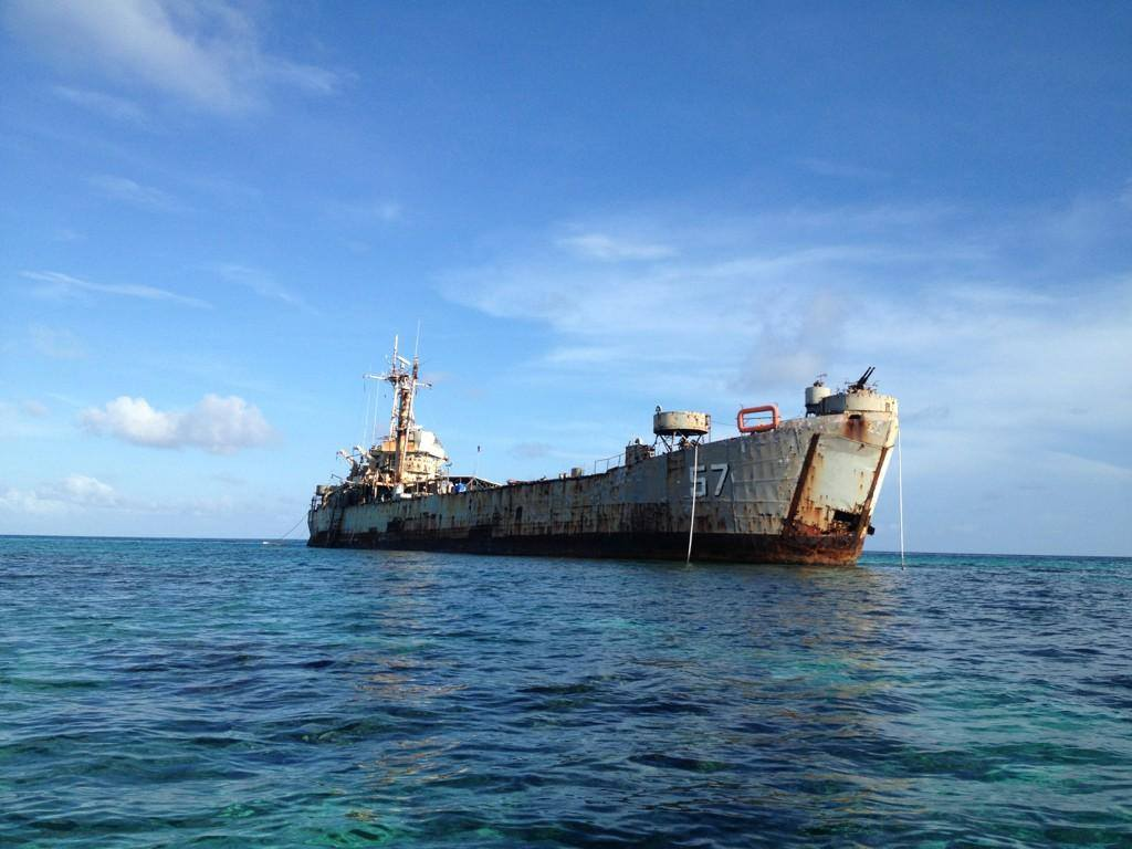 An undated photo of BRP Sierra Madre, grounded on the Second Thomas Shoal in the Spratley Islands