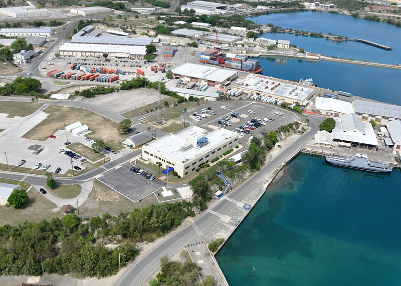 An aerial view of Bulkeley Hall at Naval Station Guantanamo Bay, Cuba. Bulkeley Hall is the naval station headquarters and administration building. US Navy Photo