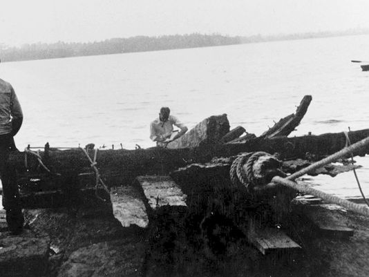 The Royal Savage was raised from Lake Champlain in 1934. AP photo via Burlington Free Press.