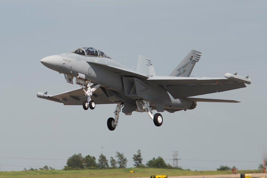 The Royal Australian Air Force's first EA-18G Growler during its first flight on July 13. Boeing Photo