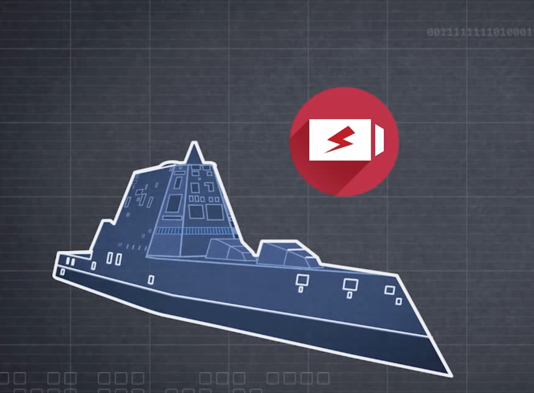 Still from a Raytheon promotional video of the Zumwalt ship. Raytheon Image