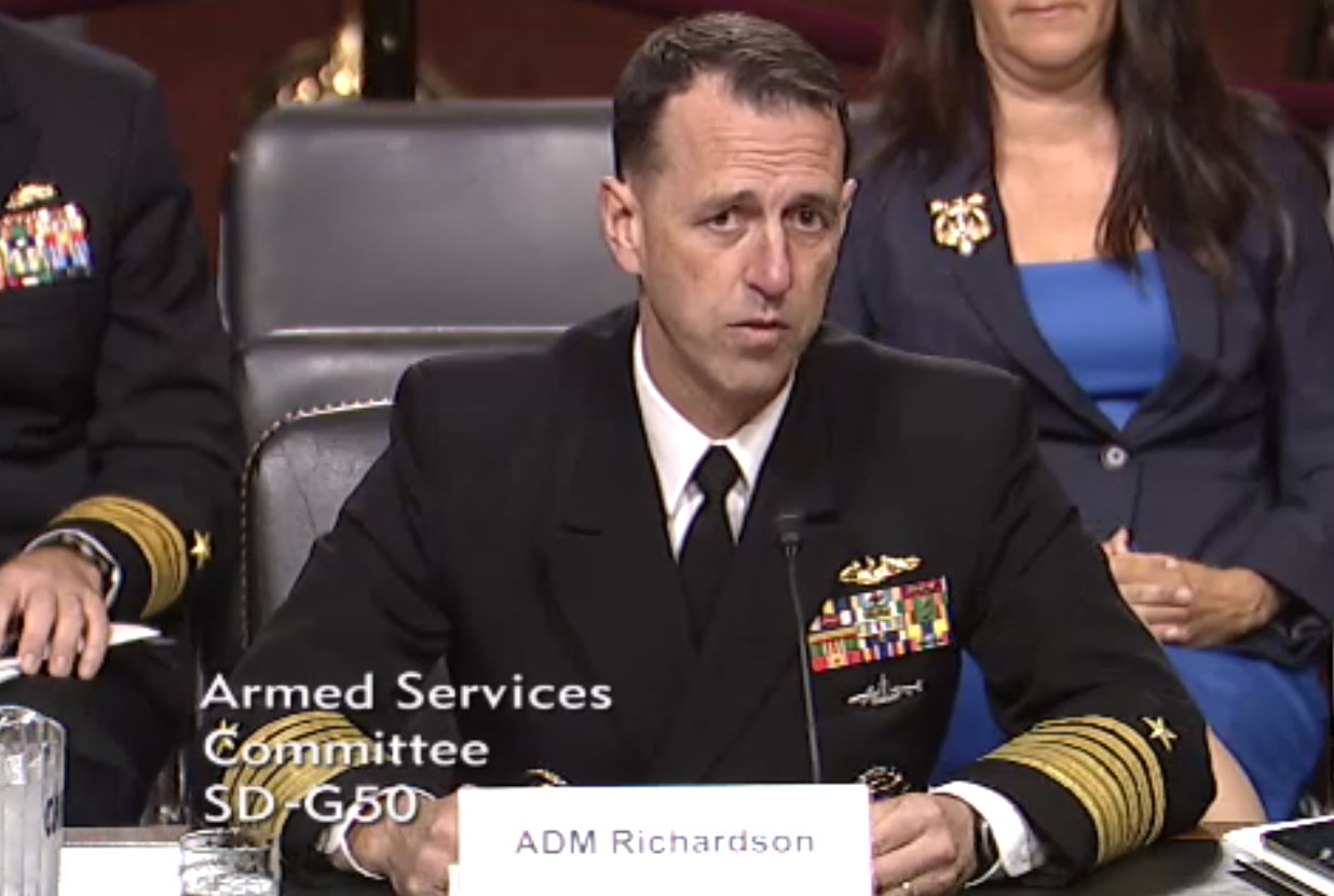 Adm. John Richardson during his July 30, 2015 nomination hearing for the position of Chief of Naval Operations.