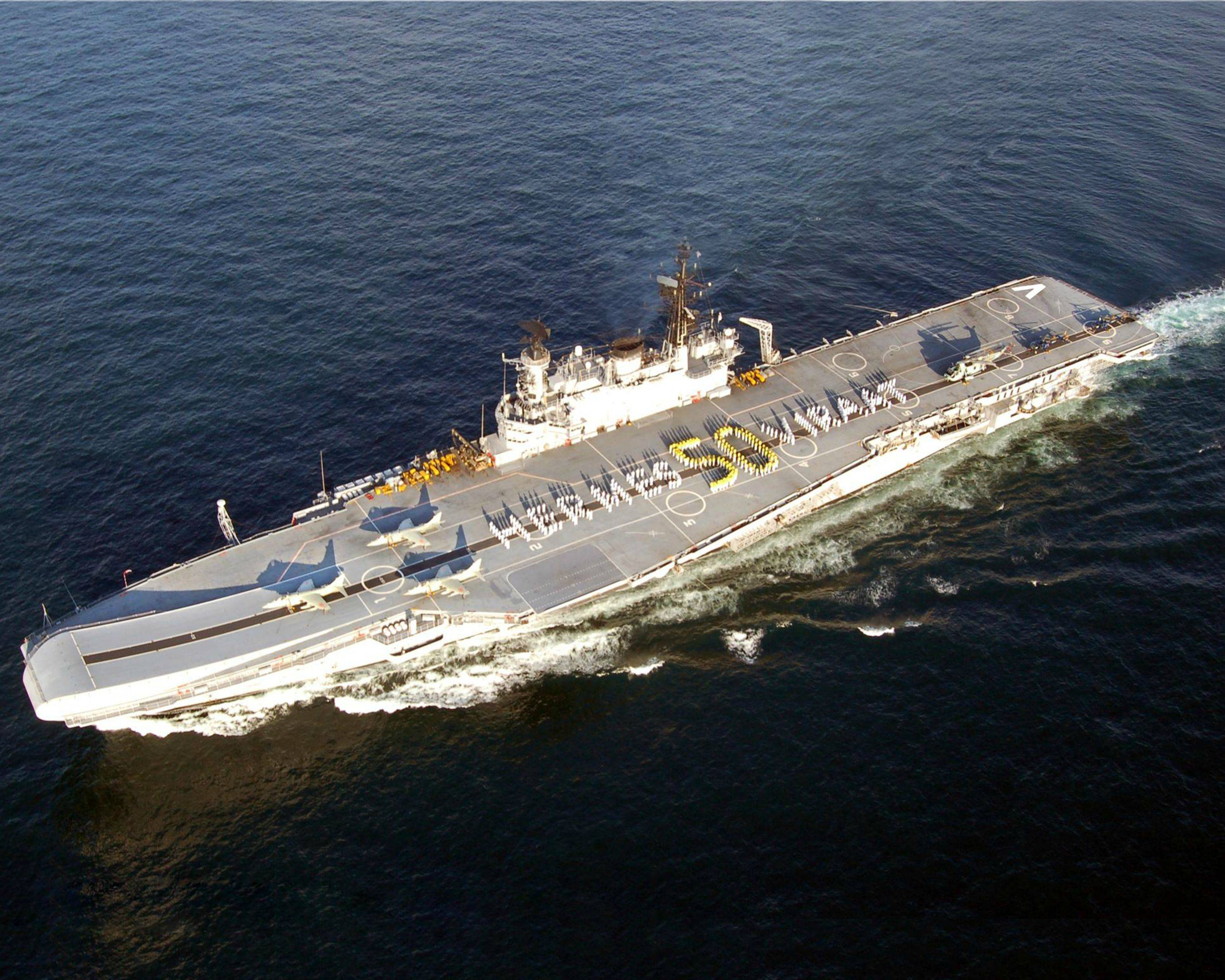 INS Viraat in 2014 on its 50th anniversary. Indian Navy Photo