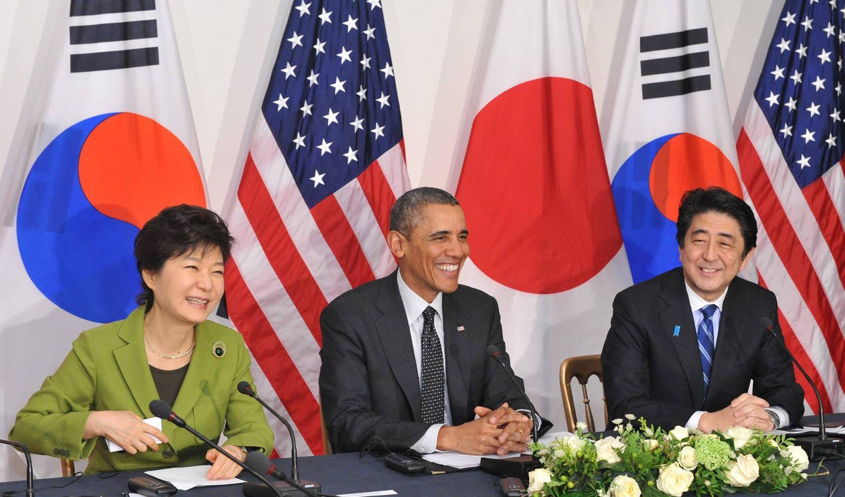 South Korean President Park Geun-hye, U.S. President Barack Obama and Japanese Prime Minister Shinzo Abe hold a trilateral summit in March 2015. Japan Prime Minister's Office Photo