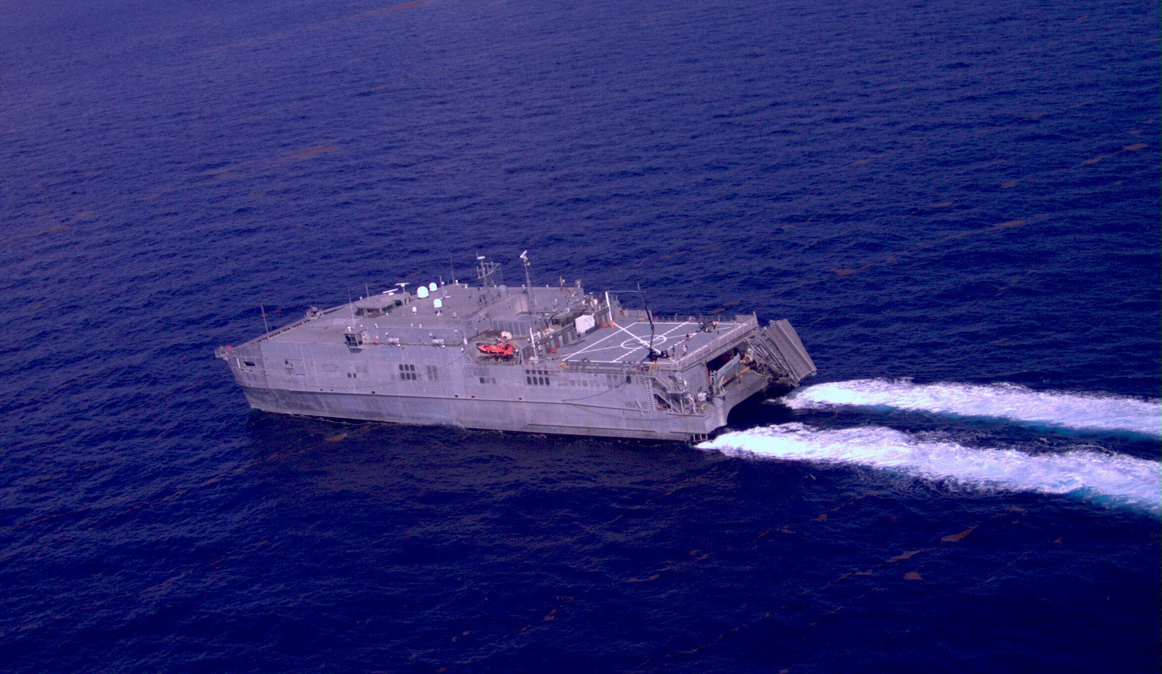 This photograph taken by the RQ20A Aqua Puma unmanned aircraft system on Aug. 7, 2015, shows an aerial view of USNS Spearhead (JHSV 1) underway during Southern Partnership Station Joint High Speed Vessel 2015 (SPS-JHSV 15). US Navy photo.