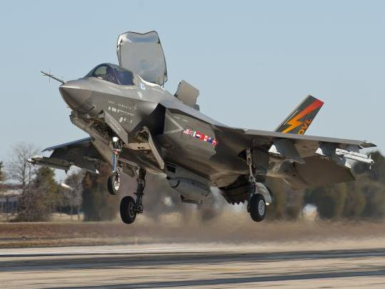 An F-35B test aircraft flies in short takeoff/vertical landing more in external pylons and stores loaded March 20, 2013. Photo courtesy F-35 Lightning II Program Office.
