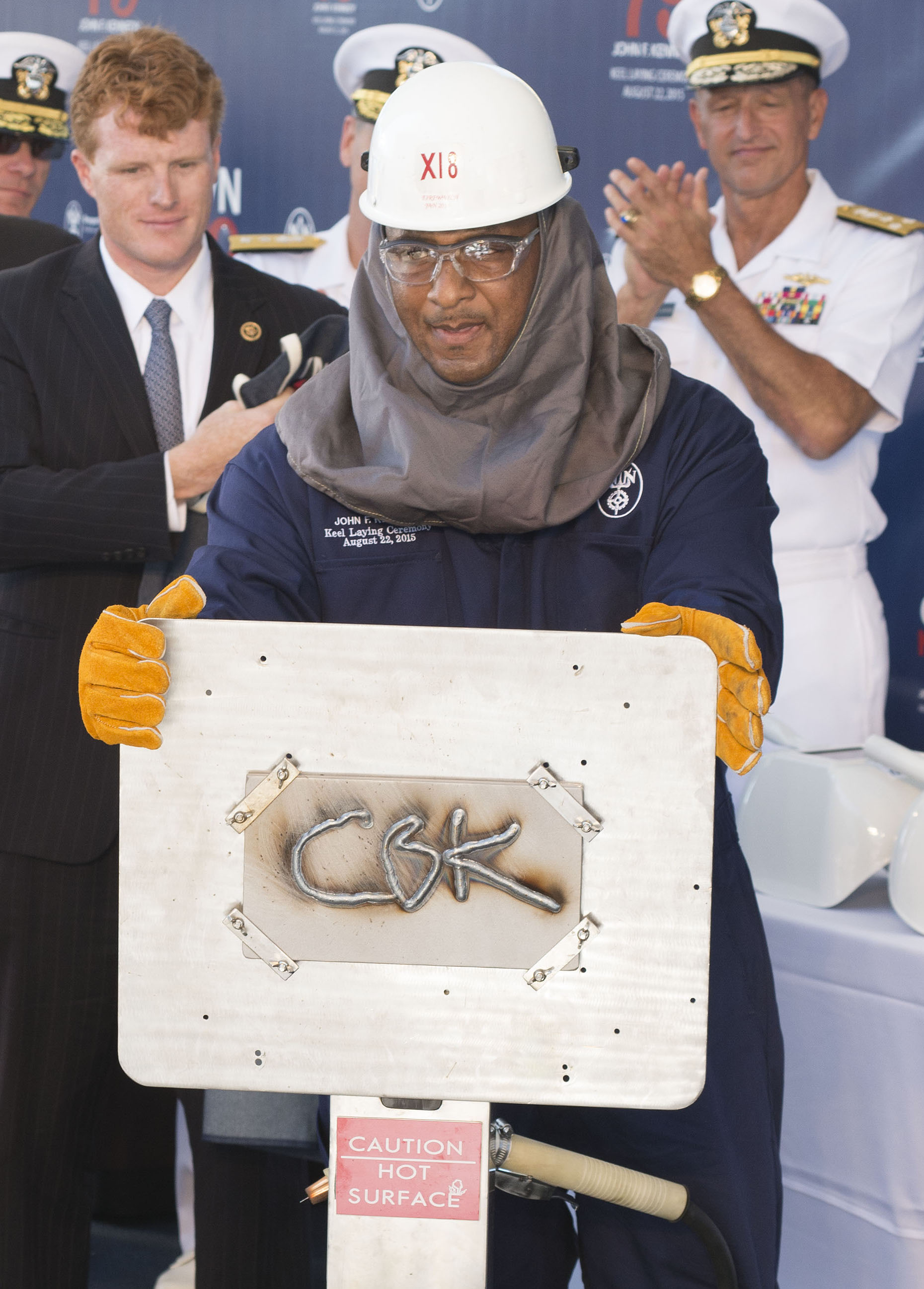 John F Kennedy Keel Laying Ceremony on Aug. 21, 2015. HII Photo
