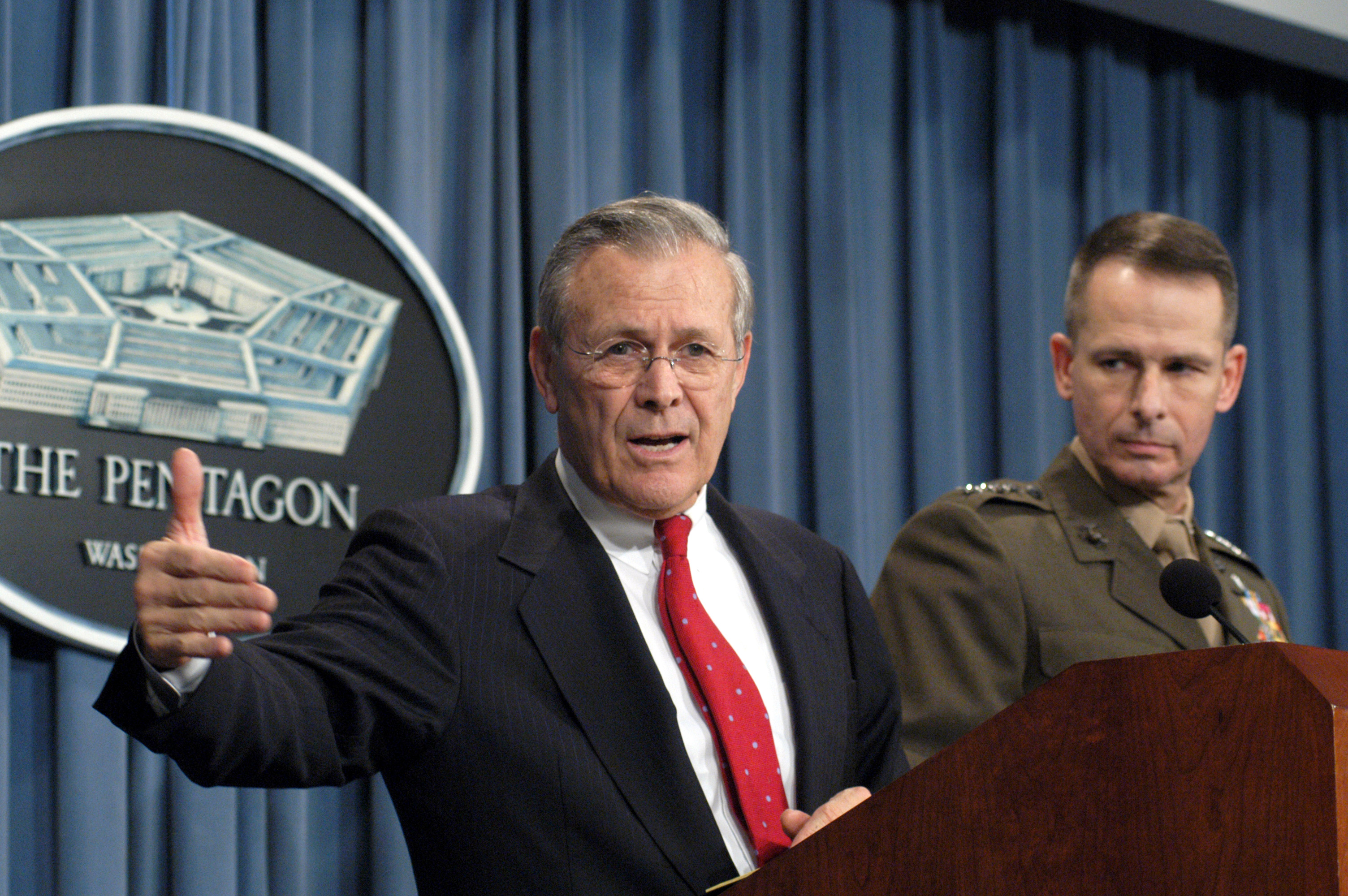 Then Secretary of Defense Donald Rumsfeld and Vice Chairman of the Joint Chiefs of Staff Gen. Peter Pace in 2003. DoD Photo