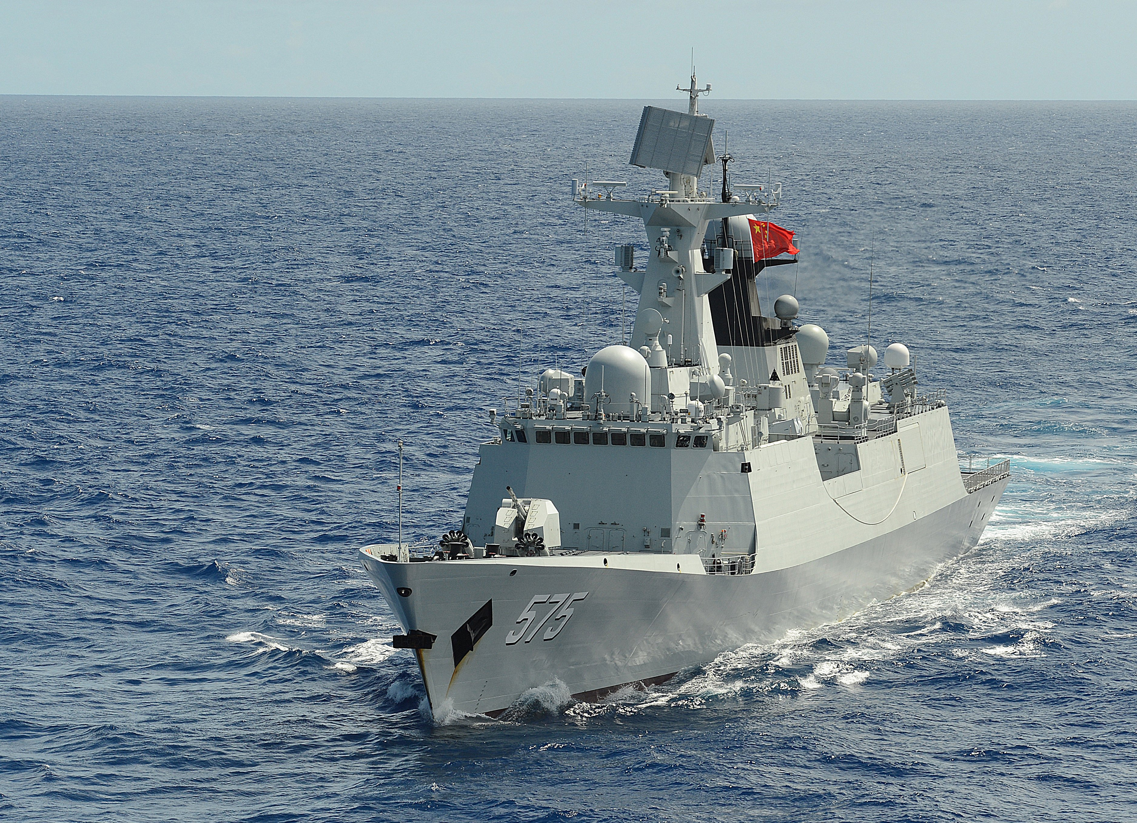 People's Republic of China, People's Liberation Army (Navy) frigate PLA(N) Yueyang (FF 575) steams in formation with 42 other ships and submarines representing 15 international partner nations during Rim of the Pacific (RIMPAC) Exercise 2014. US Navy photo.