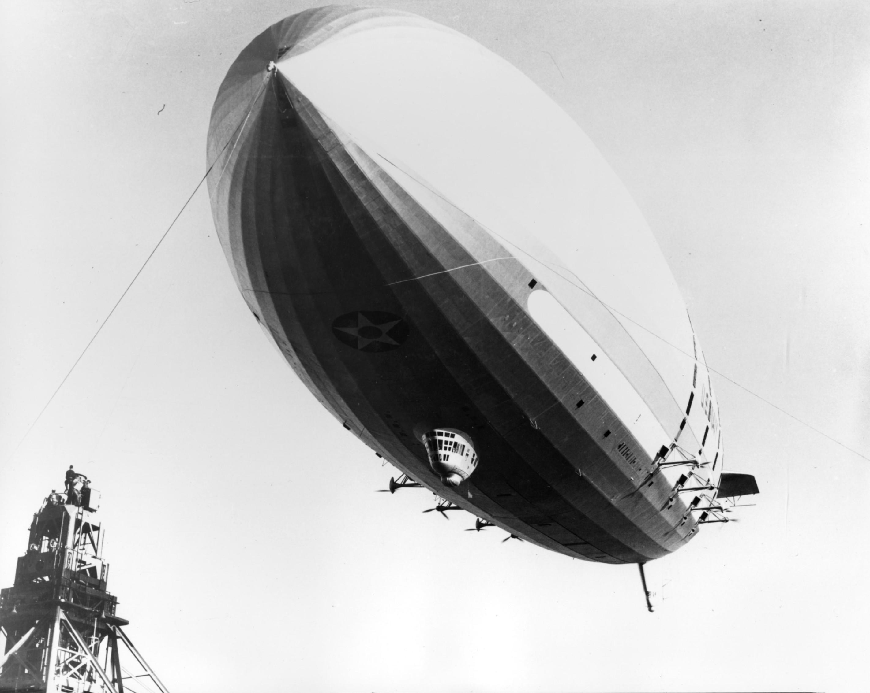 USS Macon (ZRS-5) preparing to land.