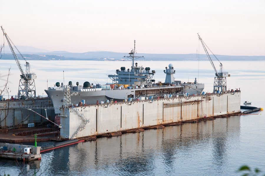 USS Mount Whitney (LCC-20) in dry dock at the Viktor Lenac Shiyard in 2011. Photo via Wikipedia