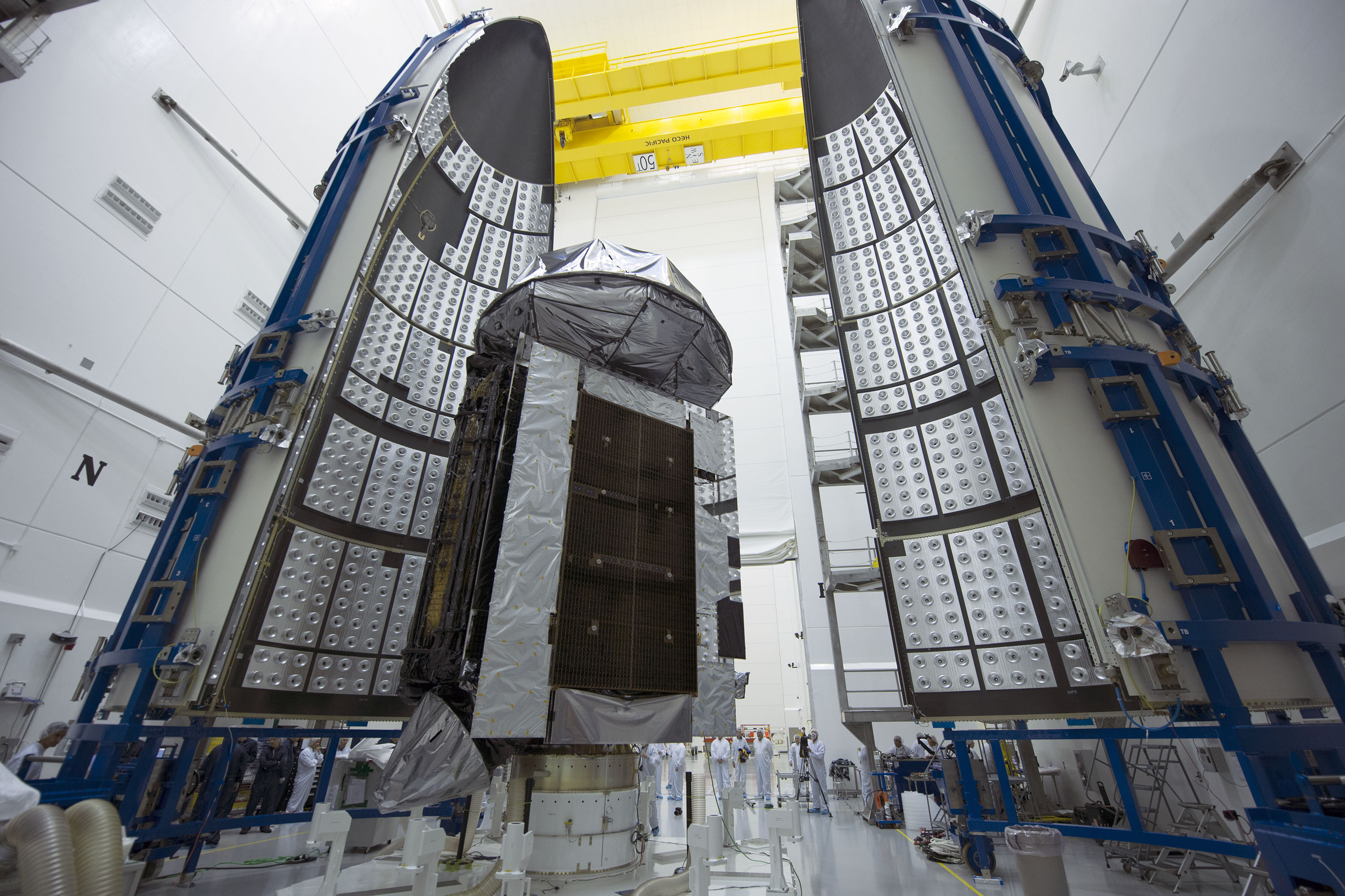 MUOS-4 encapsulated in its protective launch vehicle fairing for its Aug. 31, 2015 launch from Cape Canaveral Air Force Station. United Launch Alliance Photo