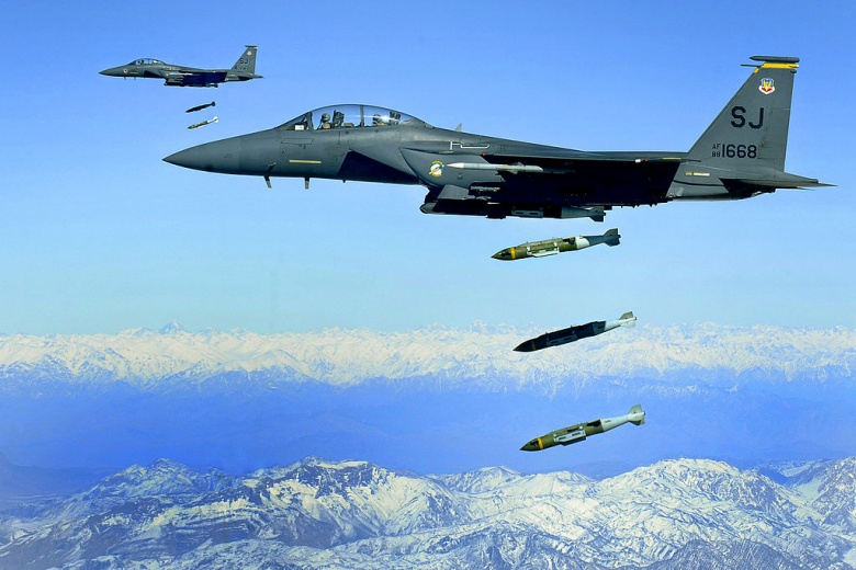 F-15E Strike Eagles, from the 335th Expeditionary Fighter Squadron, drop 2,000 pound Joint Direct Attack Munitions on a cave in eastern Afghanistan, 26 Nov. 2009. US Air Force Photo