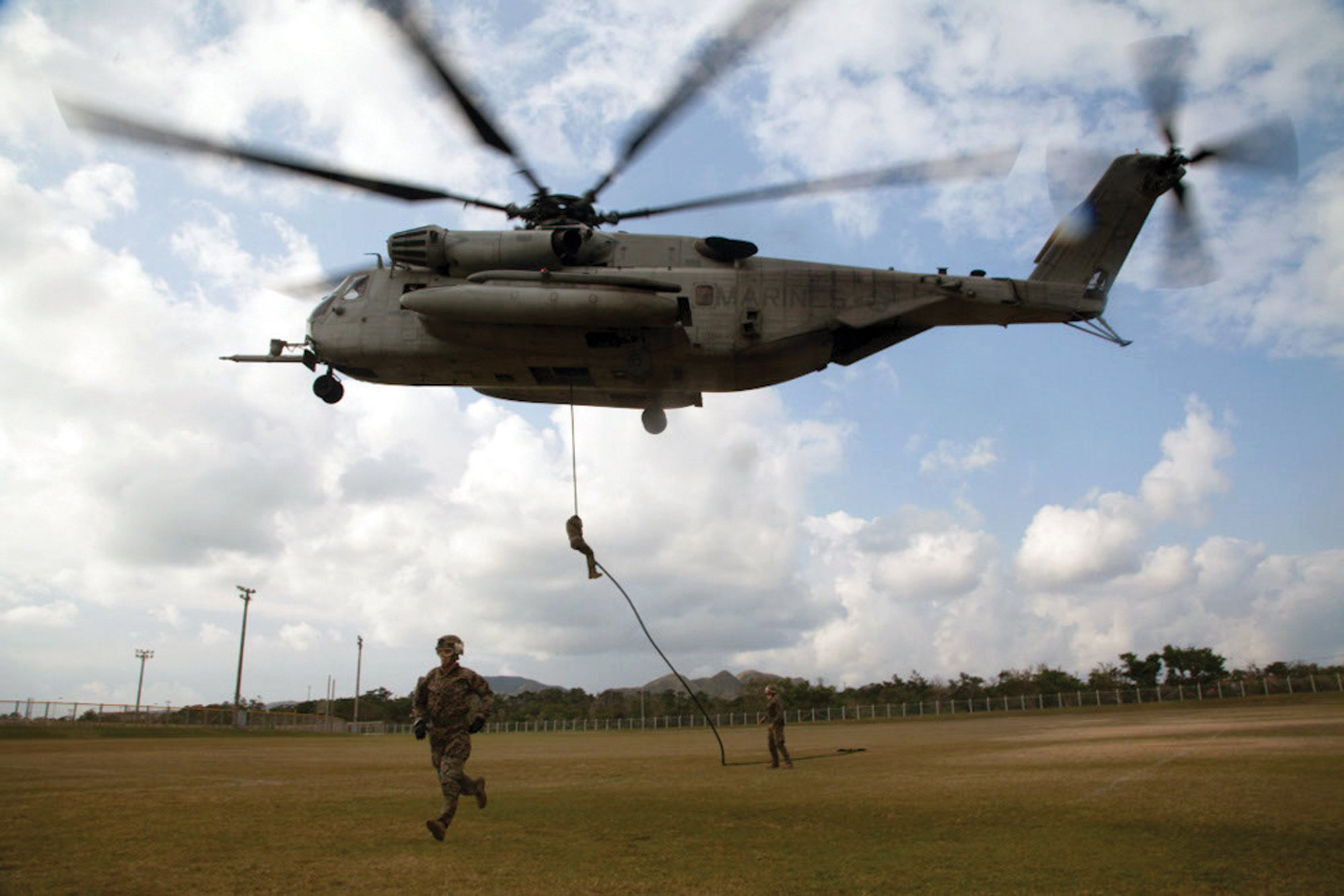 Marines with the 31st MEU fast rope from a CH-53, similar to training conducted at Camp Lejeune before Wednesday's hard landing. US Marine Corps Photo