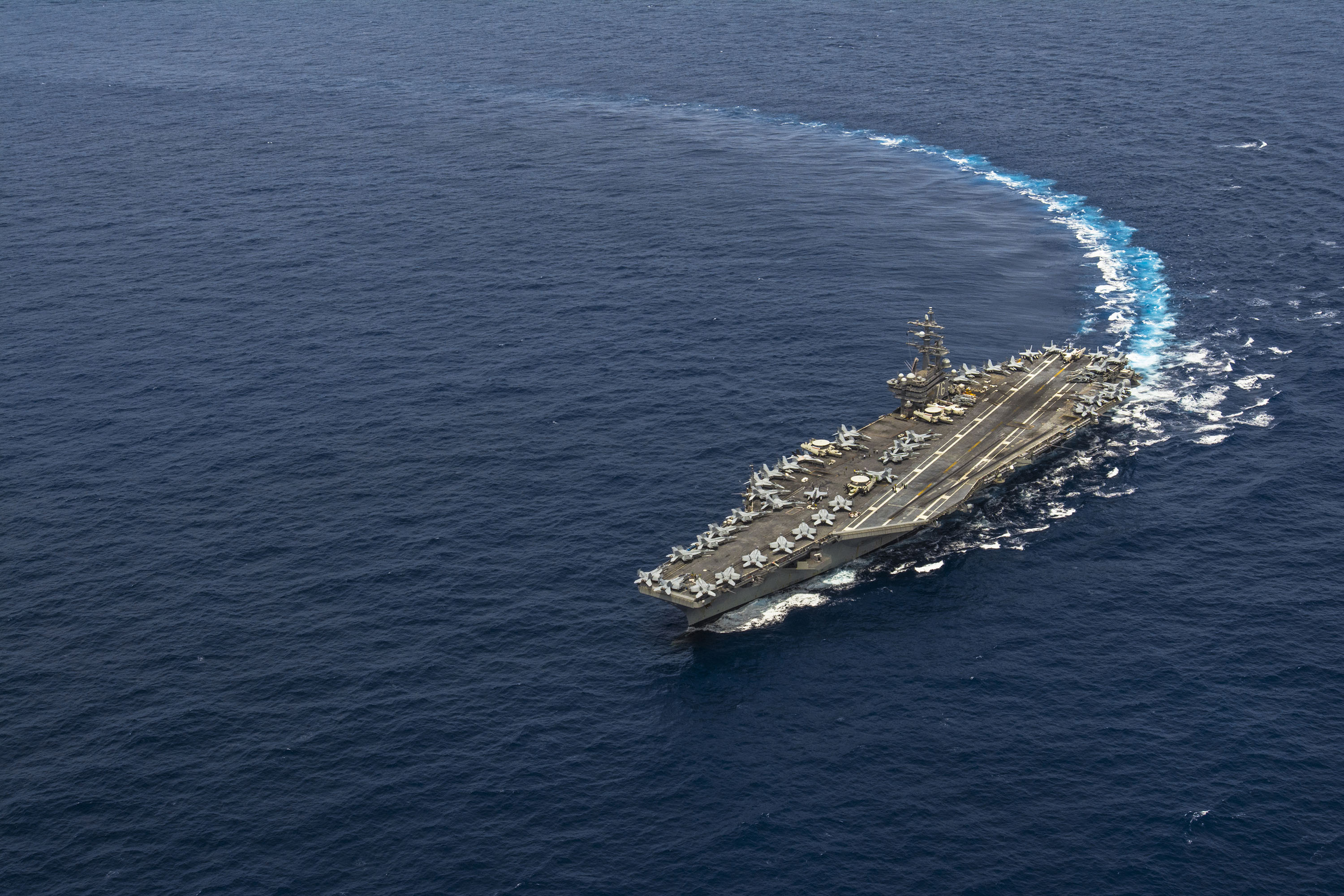 USS Ronald Reagan (CVN-76) transits the Pacific Ocean toward the U.S. 7th Fleet area of responsibility to serve as the Navy's only forward-deployed aircraft carrier on Sept. 19, 2015. US Navy Photo