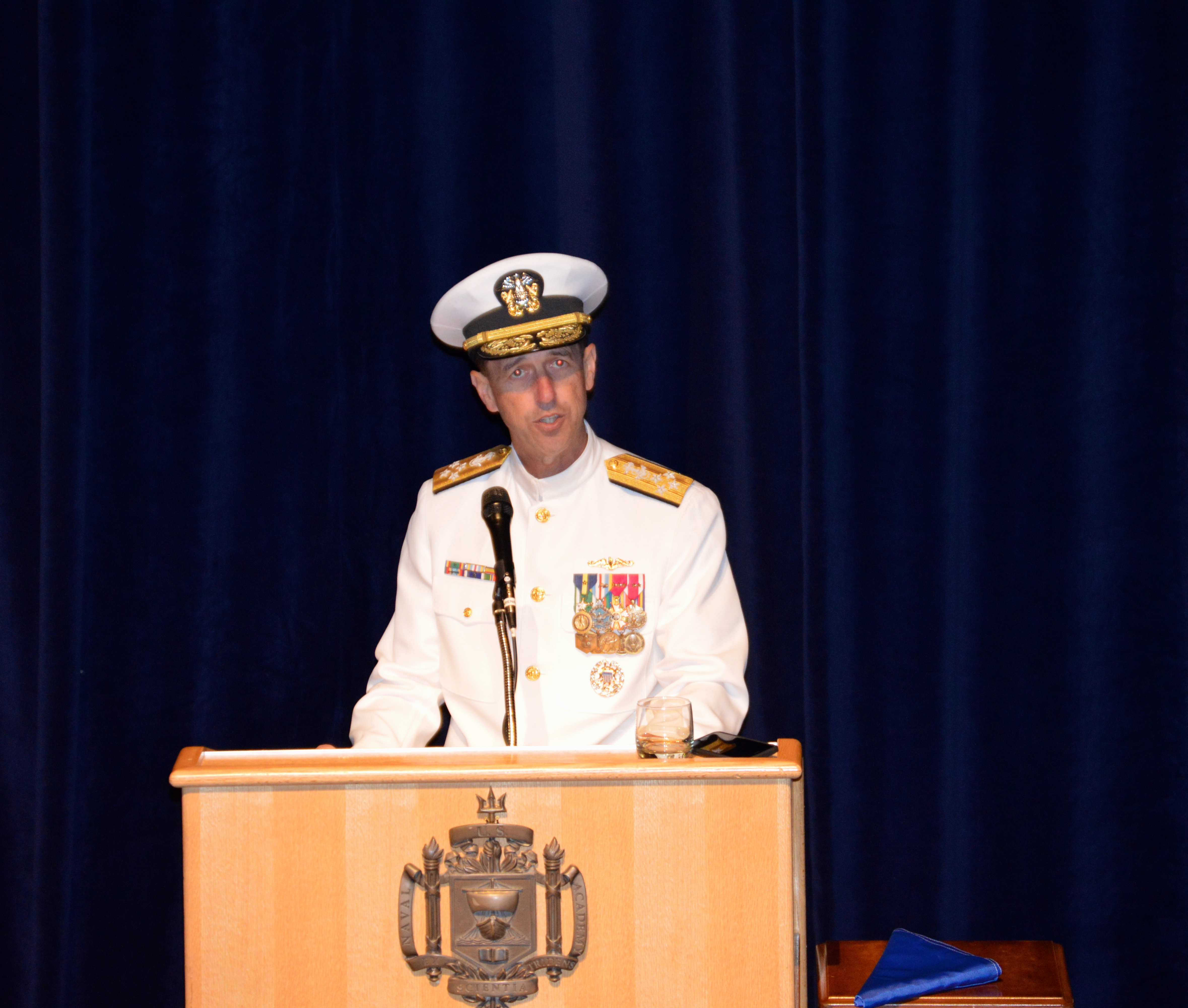 Adm. John Richardson speaks at the chief of naval operations change of command ceremony at the U.S. Naval Academy on Sept. 18, 2015. USNI News photo.