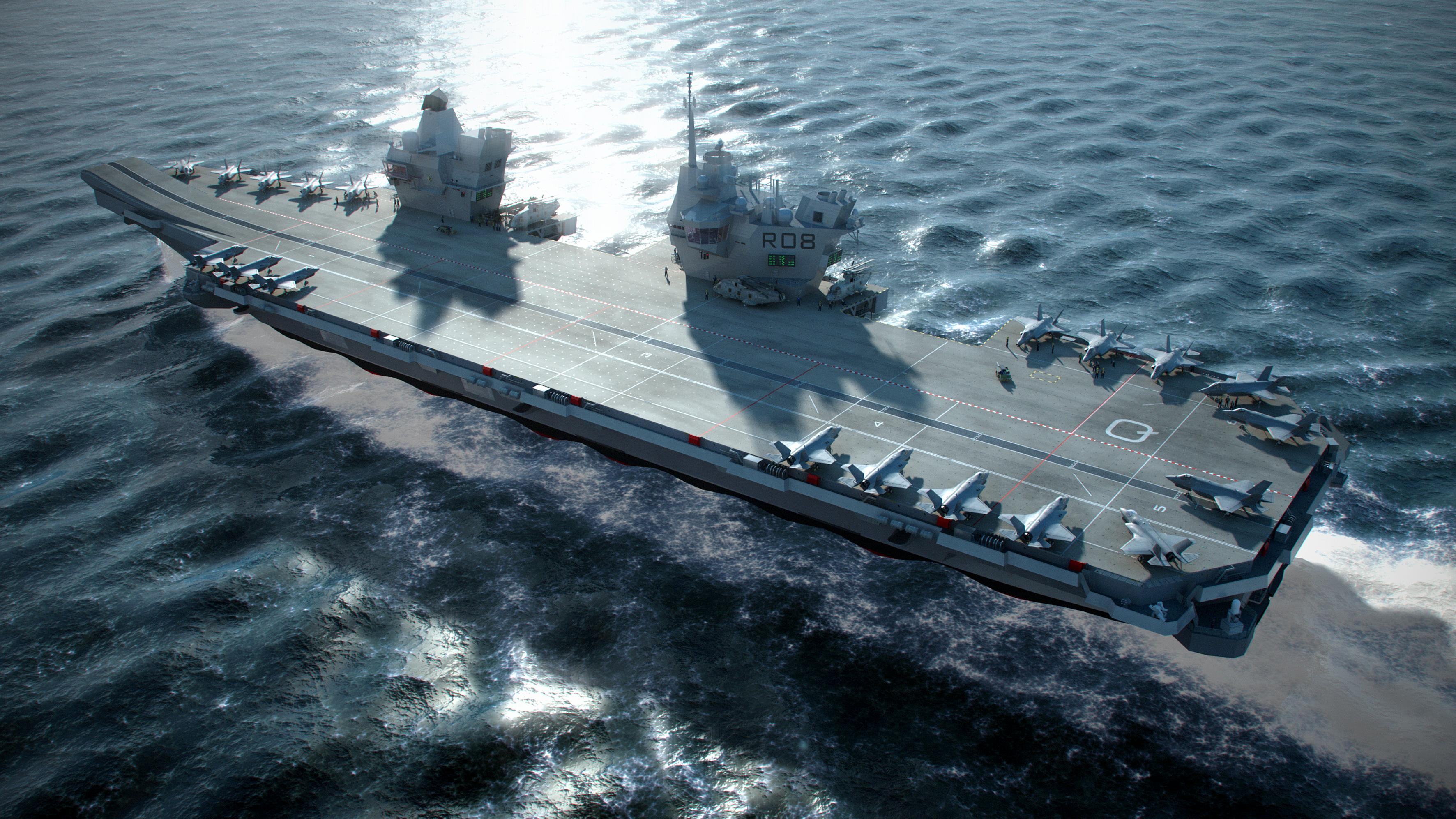 An artist's rendering of the future HMS Queen Elizabeth carrier. Royal Navy Image