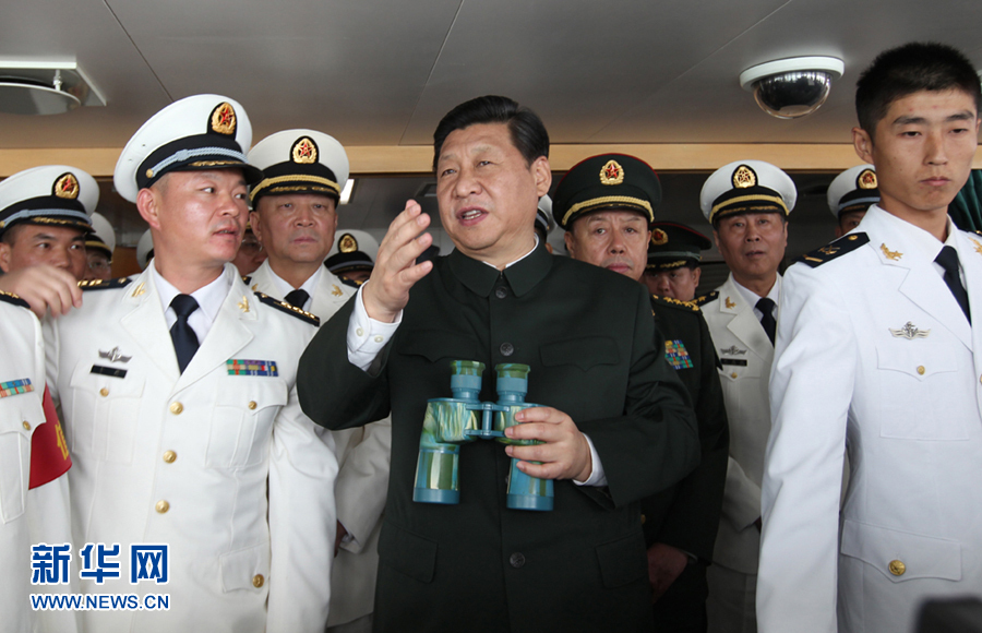 Chinese president Xi Jinxing onboard PLAN destroyer Haikou. News.cn Photo
